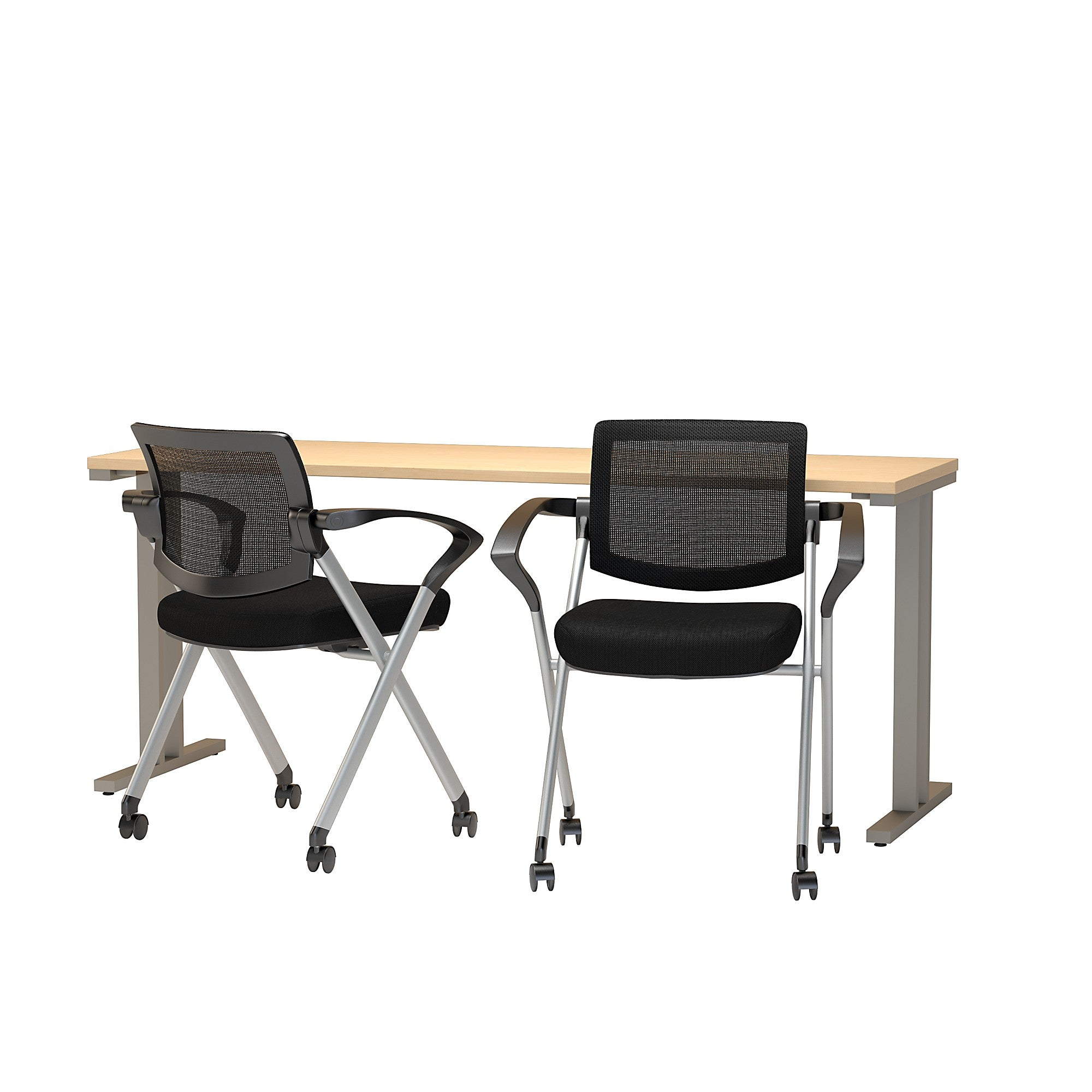 400 Series 72W x 24D Training Table with Mesh Back Folding Chairs