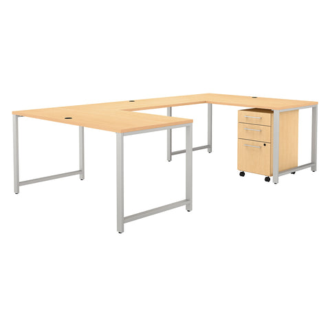 400 Series 60W U Shaped Desk with 3 Drawer Mobile File Cabinet