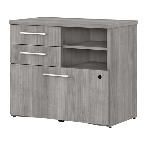 400 Series 30W Lateral File Cabinet with Shelves -Platinum Gray