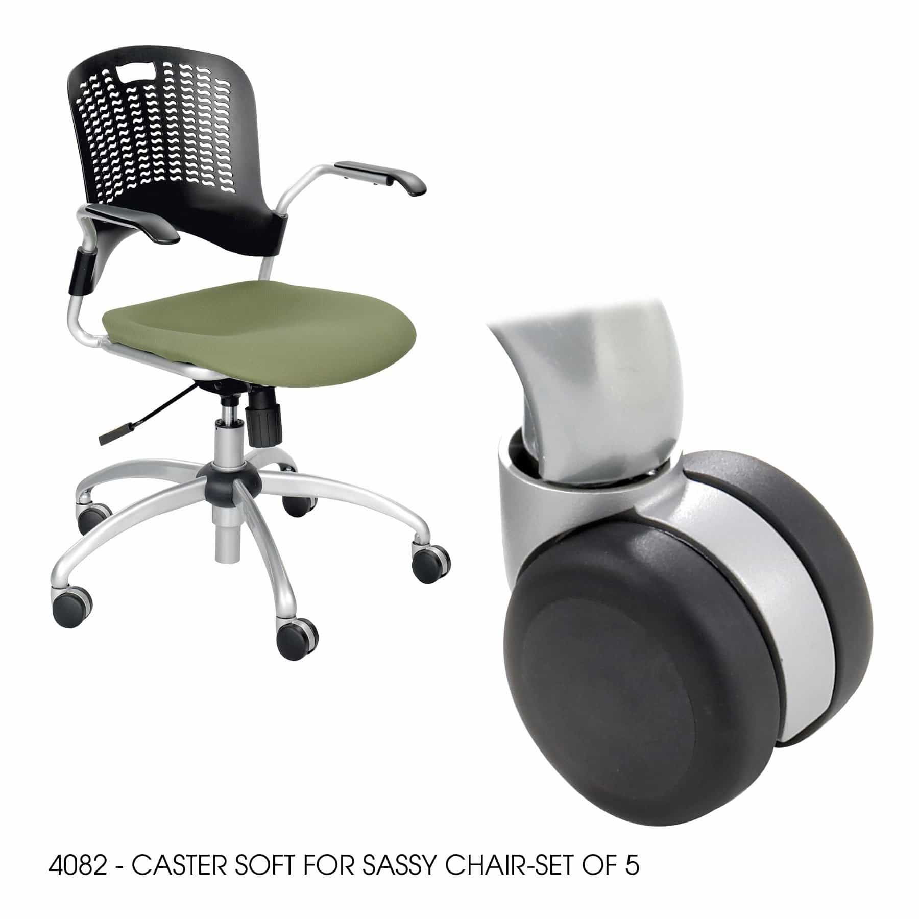 bedinhome - 4082BL Black durable soft caster for Sassy Chair-Set - Safco - Seating Accessories
