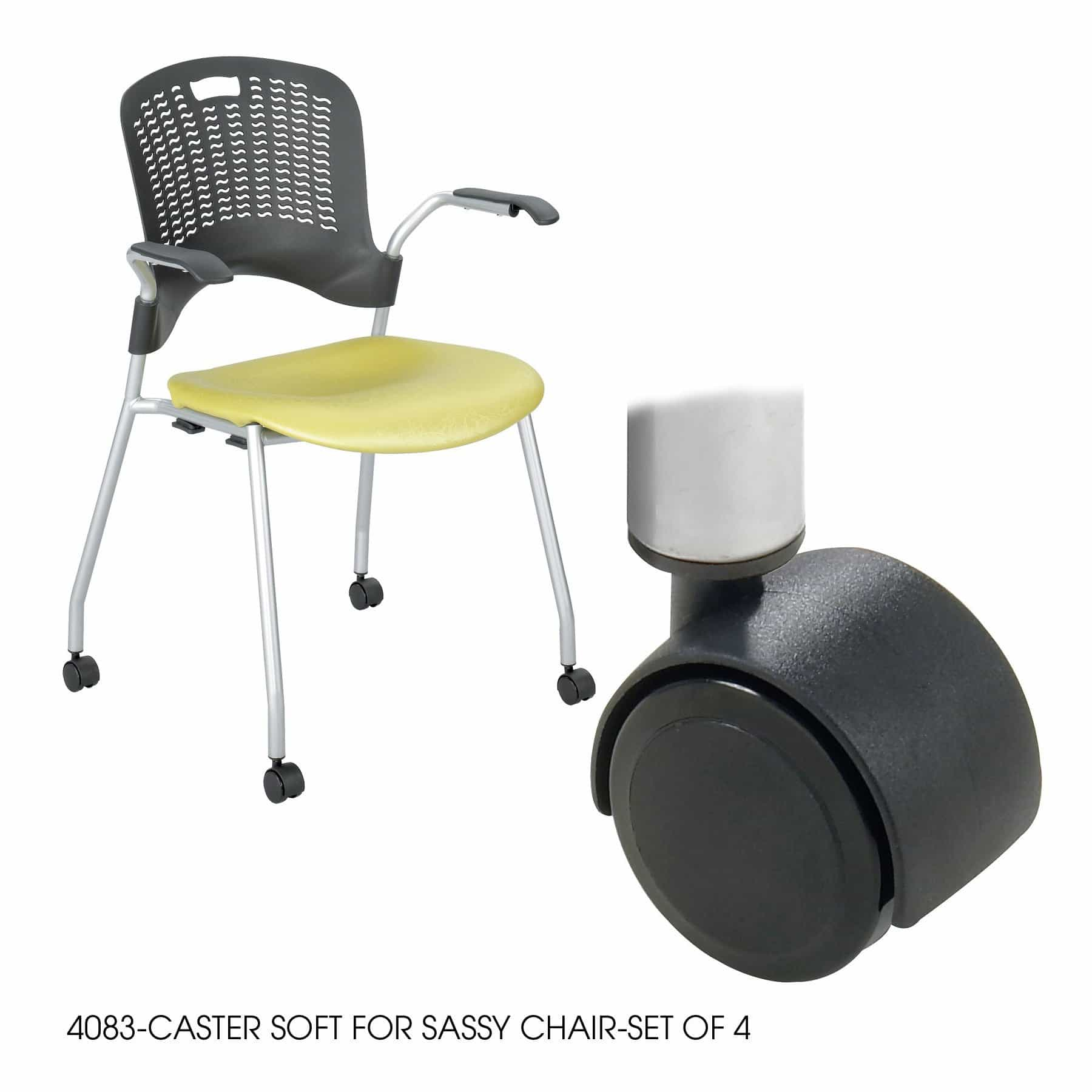 bedinhome - 4083BL Black durable soft caster for Sassy Chair-Set - Safco - Seating Accessories