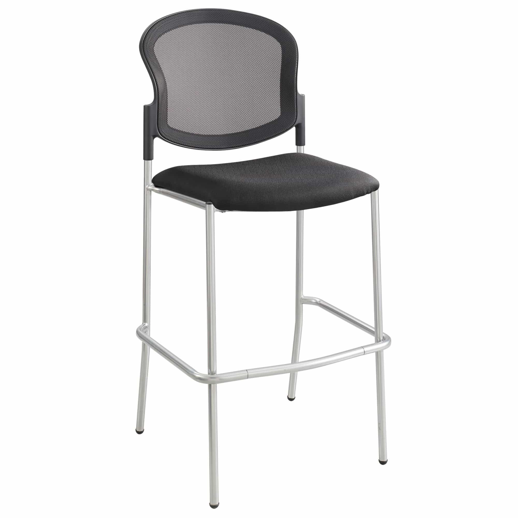 bedinhome - Safco Black Diaz Bistro-Height Mesh Back silver frame Chair - Safco - Extended/Counter Hght Seating