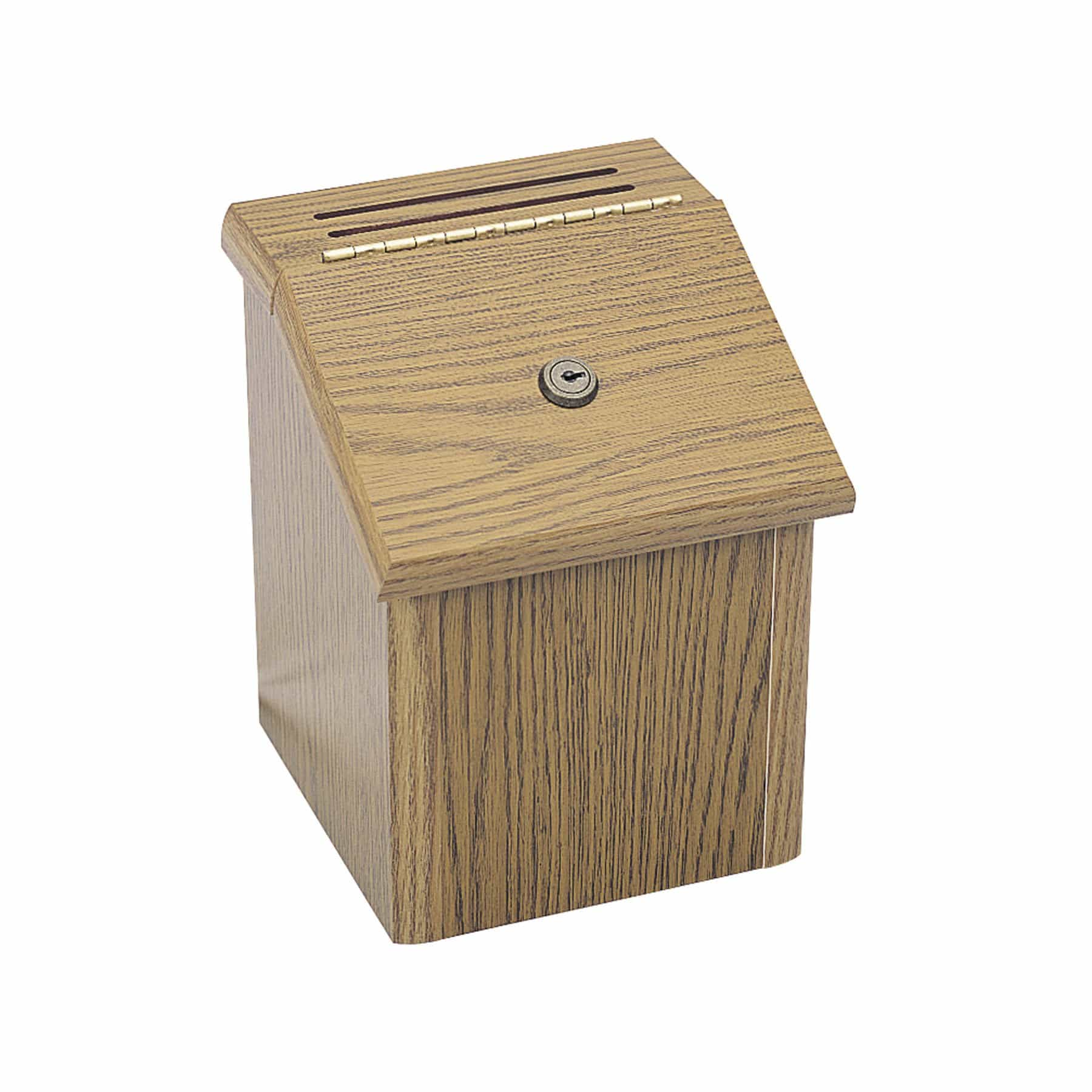 bedinhome - 4230MO Oak Wood Locking Suggestion Box includes 24 suggestion cards & 2 collection keys - Safco - Suggestion Box