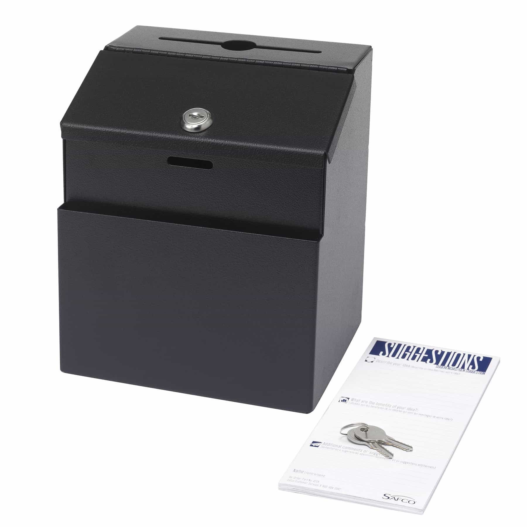 bedinhome - 4232BL durable black powder coat finish Steel Suggestion Drop Box includes two keys - Safco - Suggestion Box