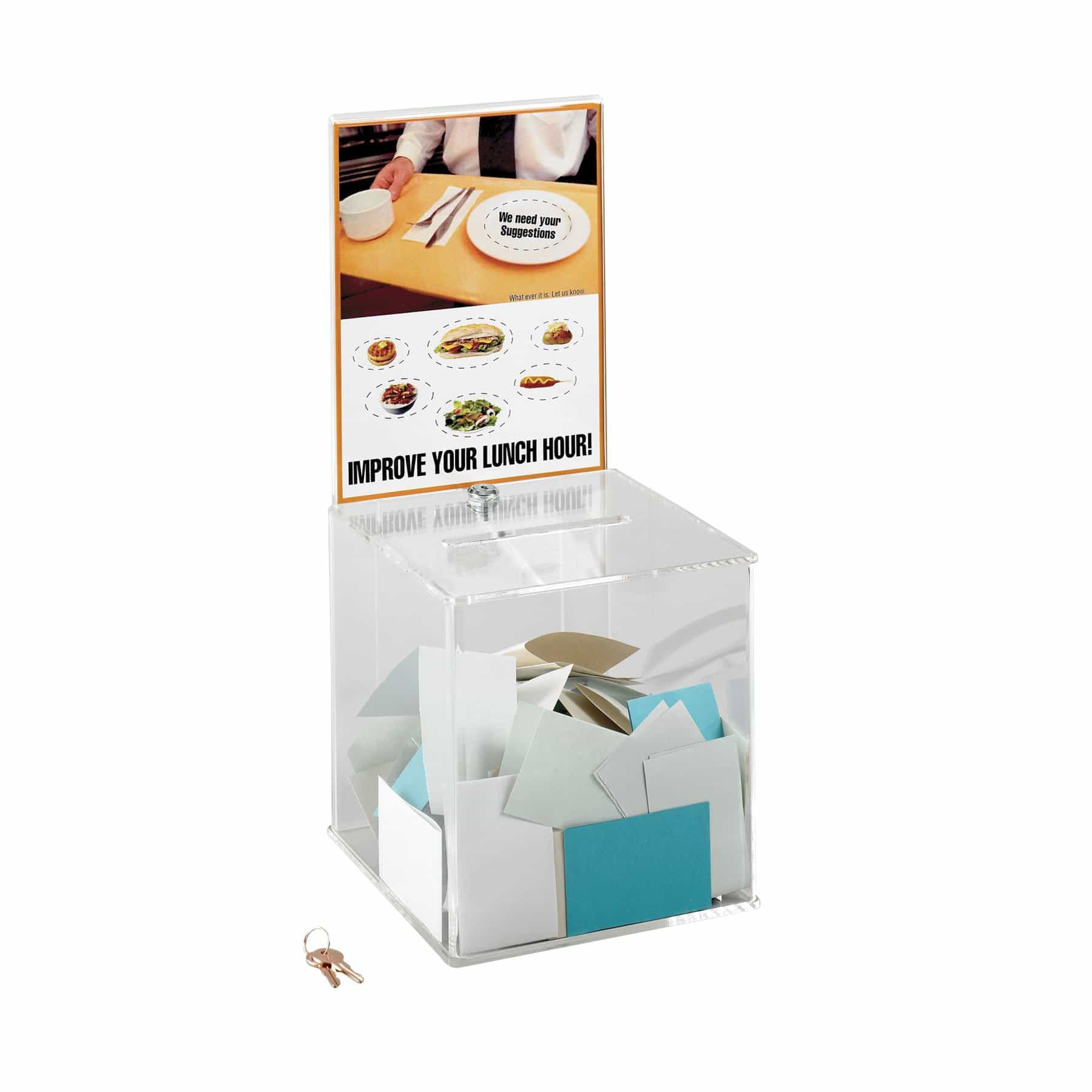 bedinhome - 4234CL Back panel slides Large acrylic drop suggestion box Includes lock with two keys - Safco - Suggestion Box