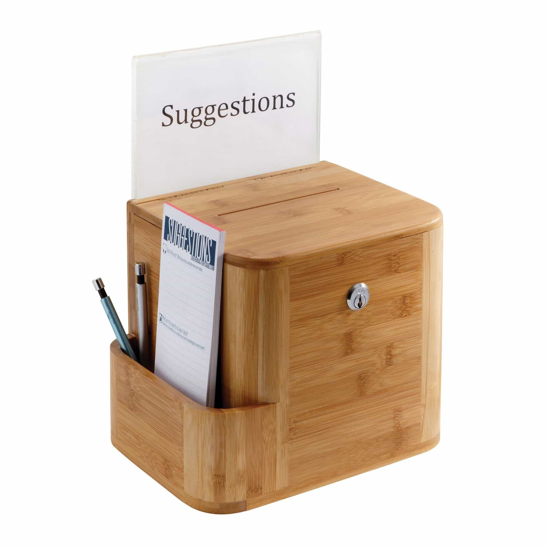 bedinhome - Safco Clear acrylic display Bamboo Suggestion deposit Box Included Two keys - Safco - Suggestion Box