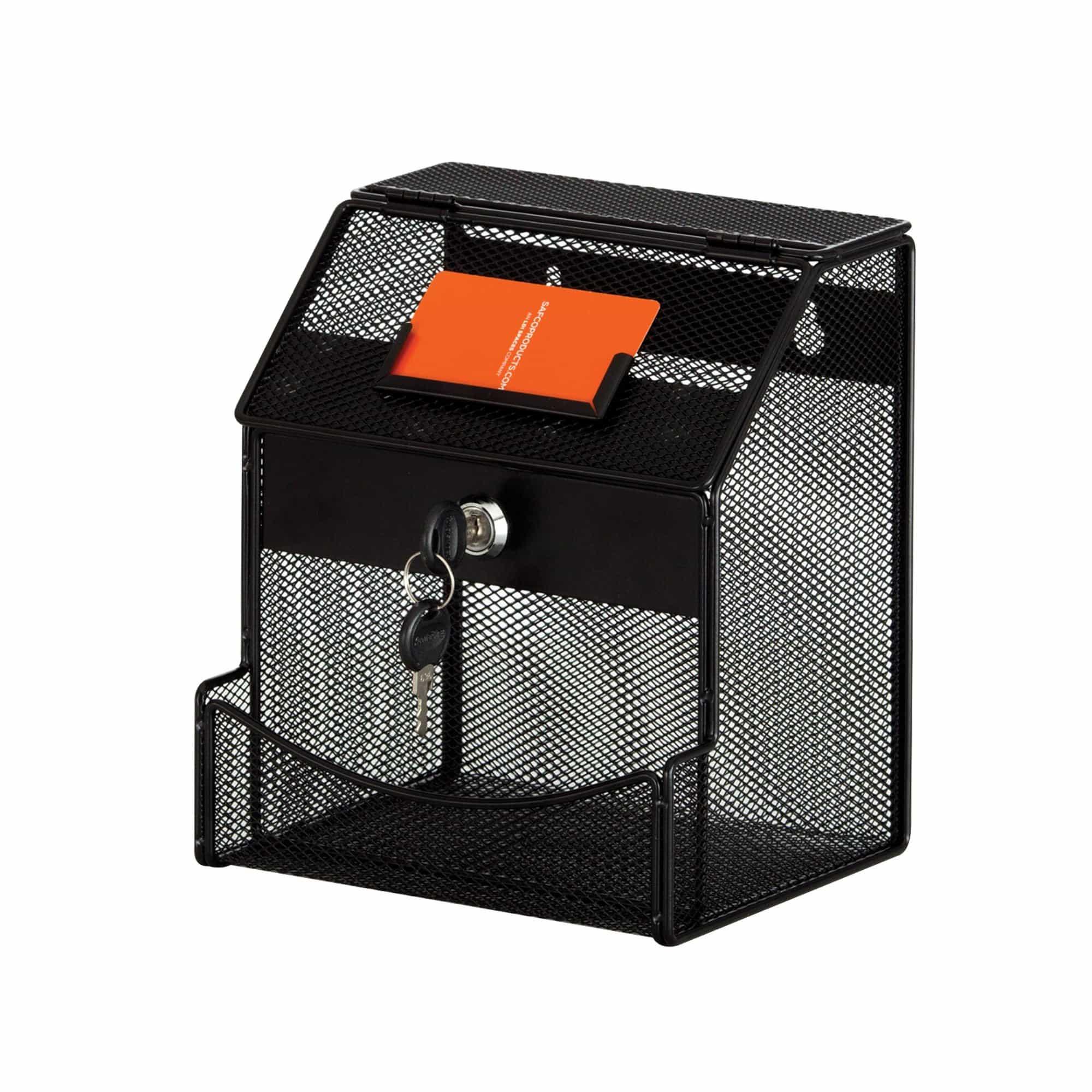 bedinhome - 4238BL black powder coat finish Onyx Mesh Collection acrylic display office drop box - Safco - Suggestion Box