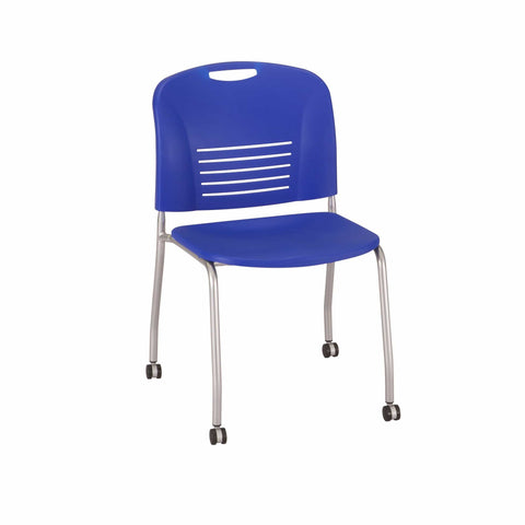 bedinhome - 4291BU Vy™ Restaurant Furniture 350 Lbs Capacity Blue Plastic Seat Stack Chair Straight Leg with Casters (Qty. 2) - Safco - Straight Leg w/ Caster