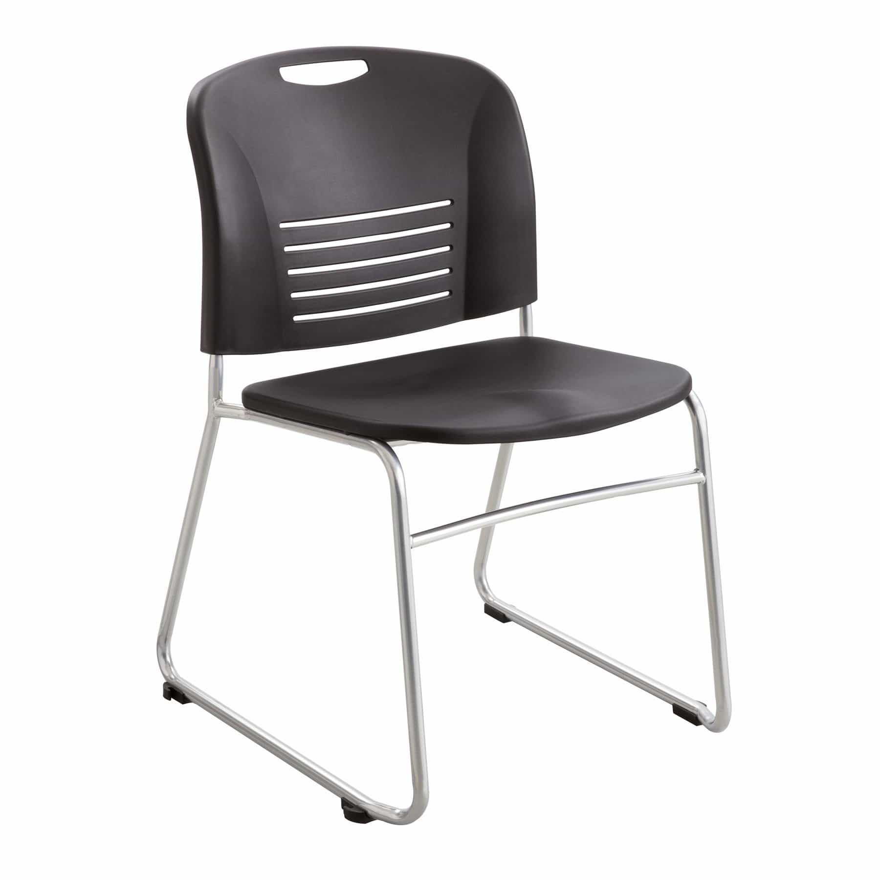 bedinhome - 4292BL Black Vy Sled Base plastic steel powder coat frame stackable chair (Qty. 2) - Safco - Stack/Nesting Seating
