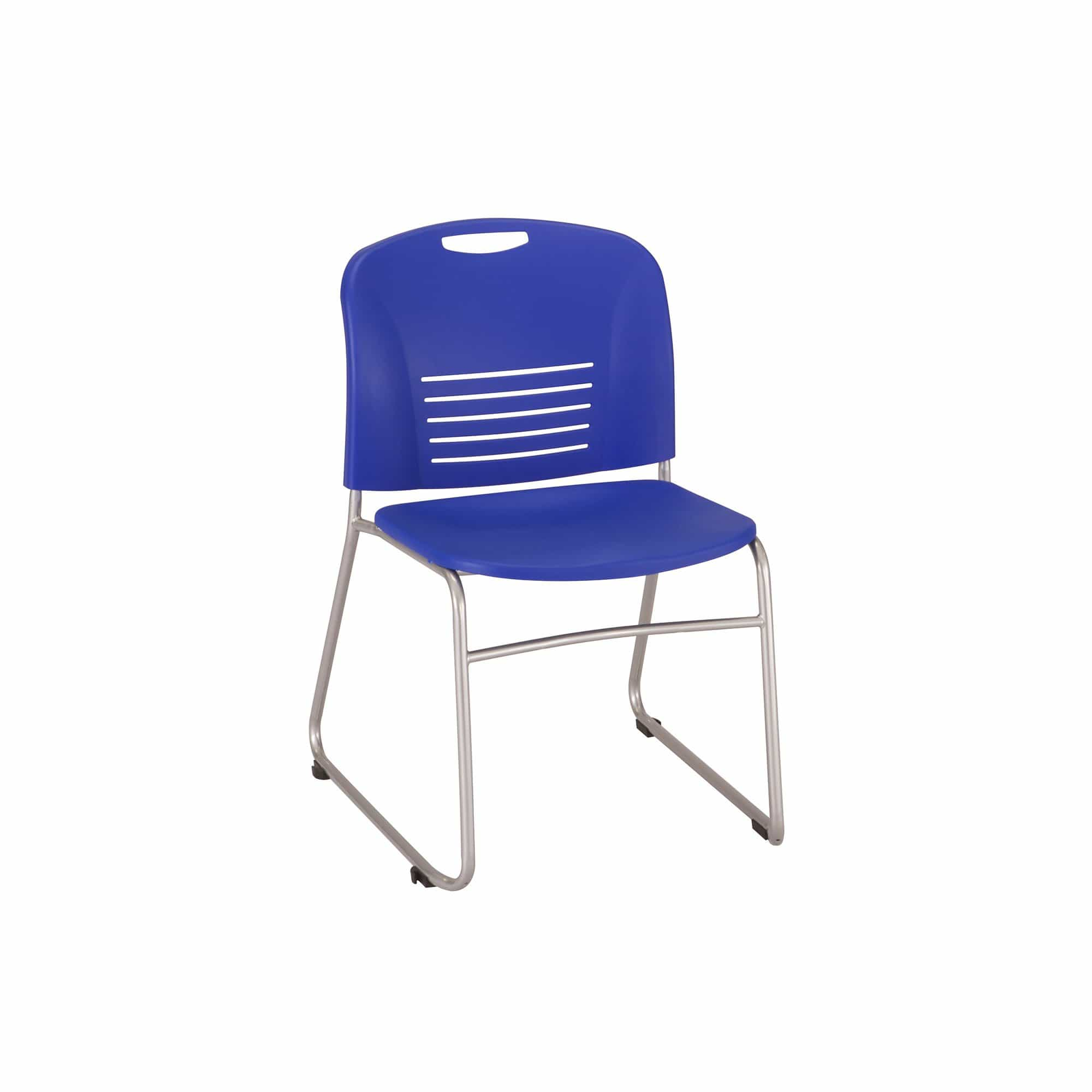 bedinhome - 4292BU Vy™ Restaurant Furniture Sled Base Leg Frame Plastic Stack Blue Chair With Small Scale Aesthetics (Qty. 2) - Safco - Stack Chair