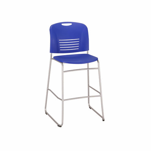 bedinhome - 4295BU Vy™ Restaurant Furniture 350 Lbs Capacity Bistro-Height Sled Base Blue Plastic Cafe Chair With Small Scale Aesthetics - Safco - Bistro-Café Chair
