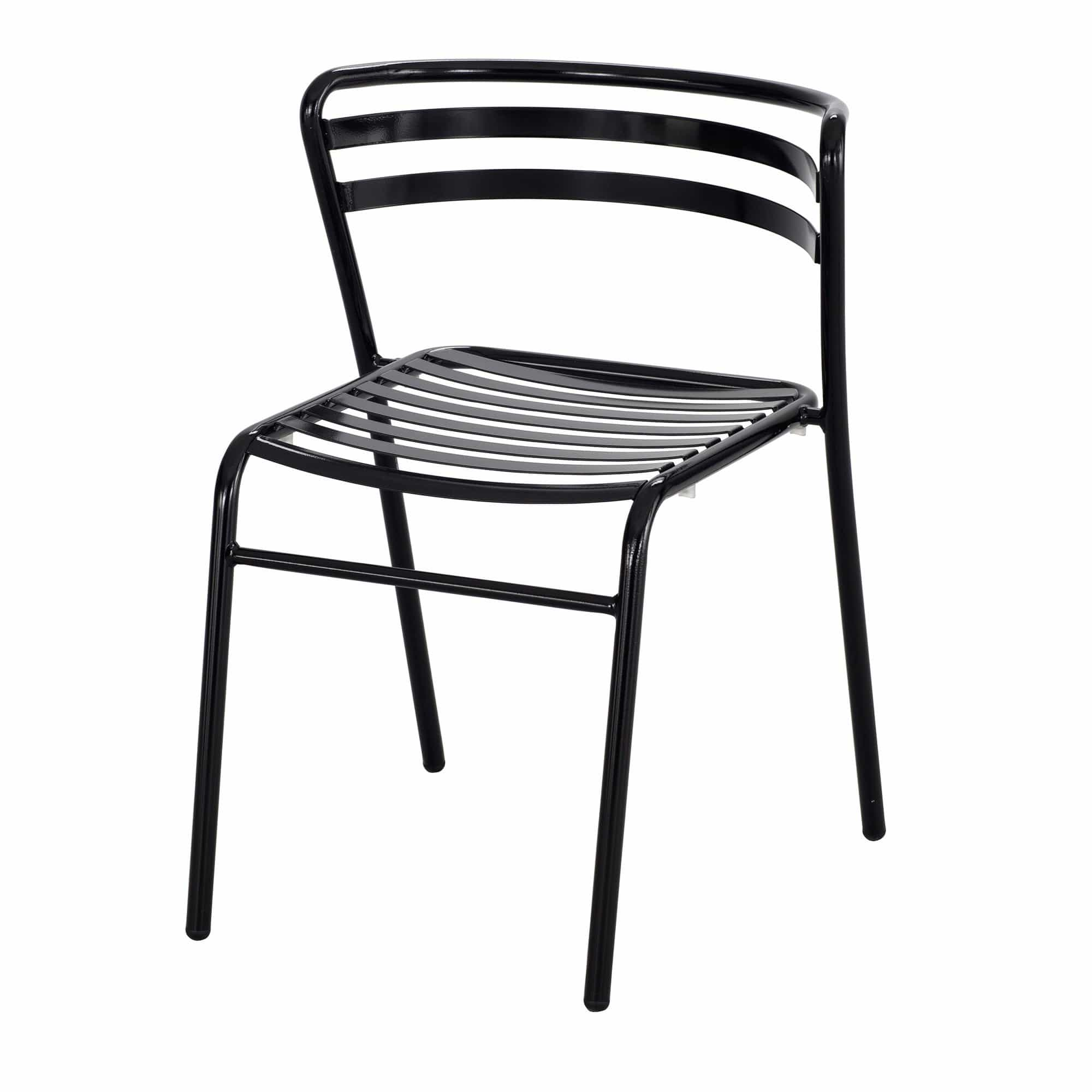 bedinhome - 4360BL CoGo™ Open Slat Design Multipurpose Curved Back Rest Tubular Steel Outdoor/Indoor Durable Black Stack Chair (Qty. 2) - Safco - Stack Chair