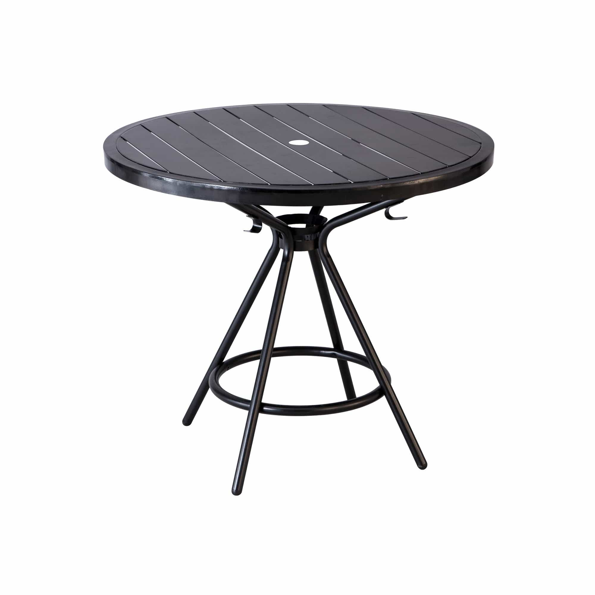 bedinhome - 4362BL CoGo™ Outdoor/Indoor Weather Resistant 36 Inch Round Shape Black Steel Table With Hangup Hook - Safco - Outdoor/Indoor Table