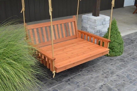 Traditional English Cedar Handcrafted Patio Porch Outdoor Garden Swingbed Made In USA