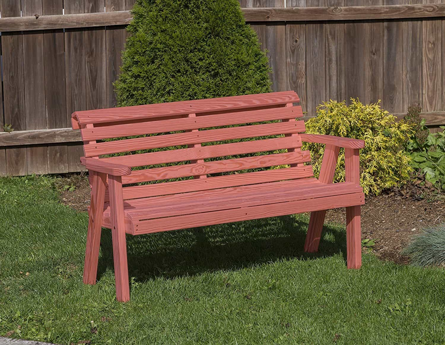 Outdoor Amish Roll Back Pressure Treated kiln-dried pine Bench USA