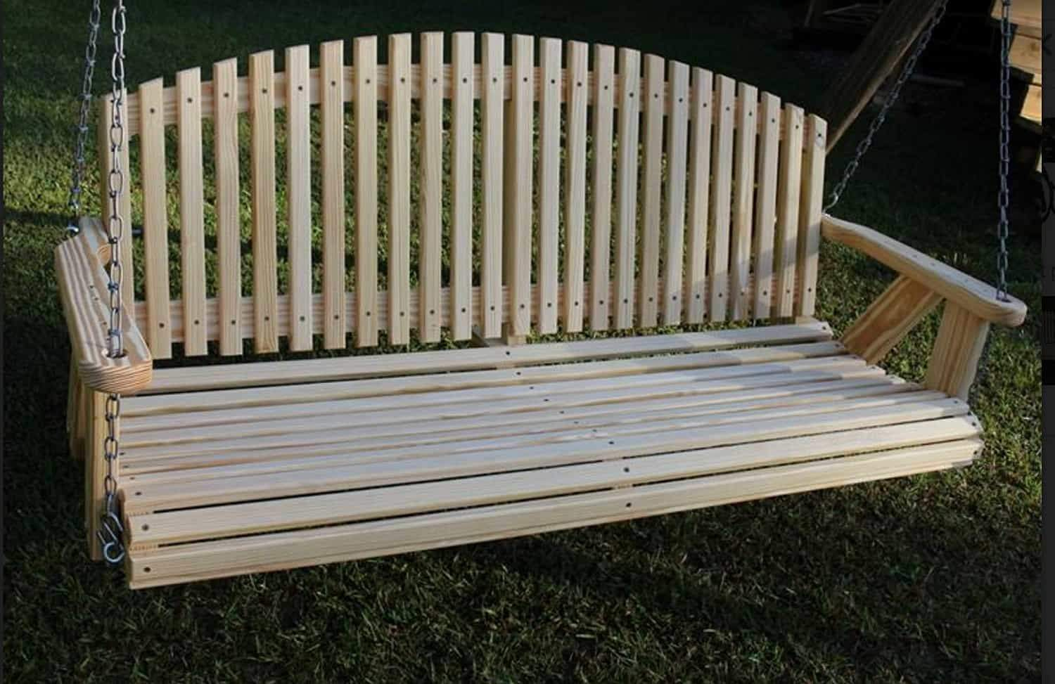 Arch Back & Rolled Seating kiln-dried pine Amish HeavyDuty Porch Swing