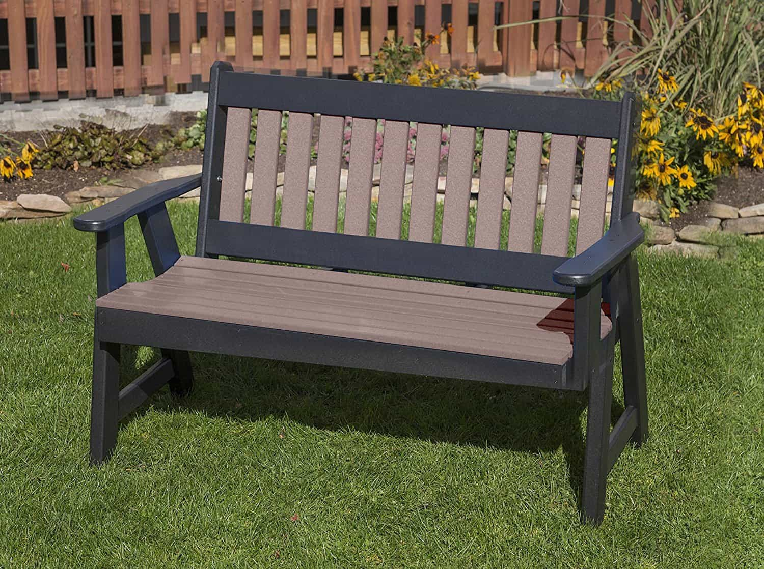 POLY LUMBER Mission Porch EVERLASTING PolyTuf HDPE AMISH CRAFTED BENCH