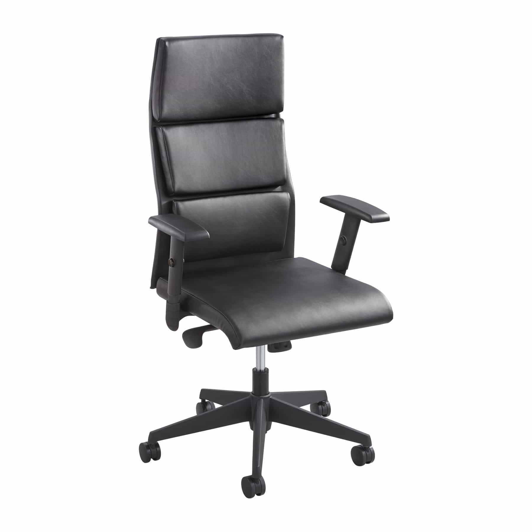bedinhome - 5070BL Office Furniture Black Tuvi High Back Leather height-adjustable arms Chair - Safco - Executive Seating
