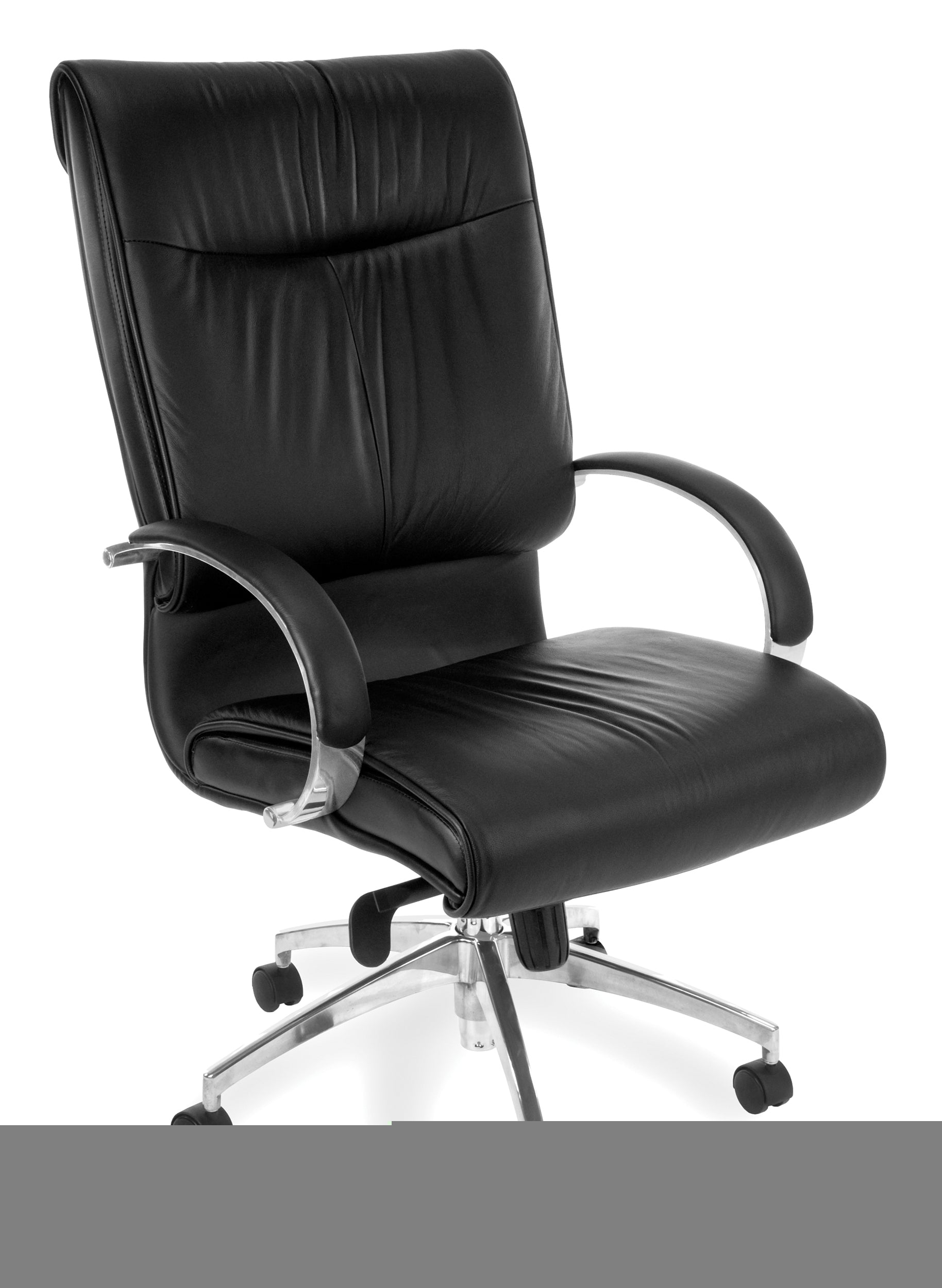 510-L Sharp Series Leather High-Back Executive Chair with Knee Tilt