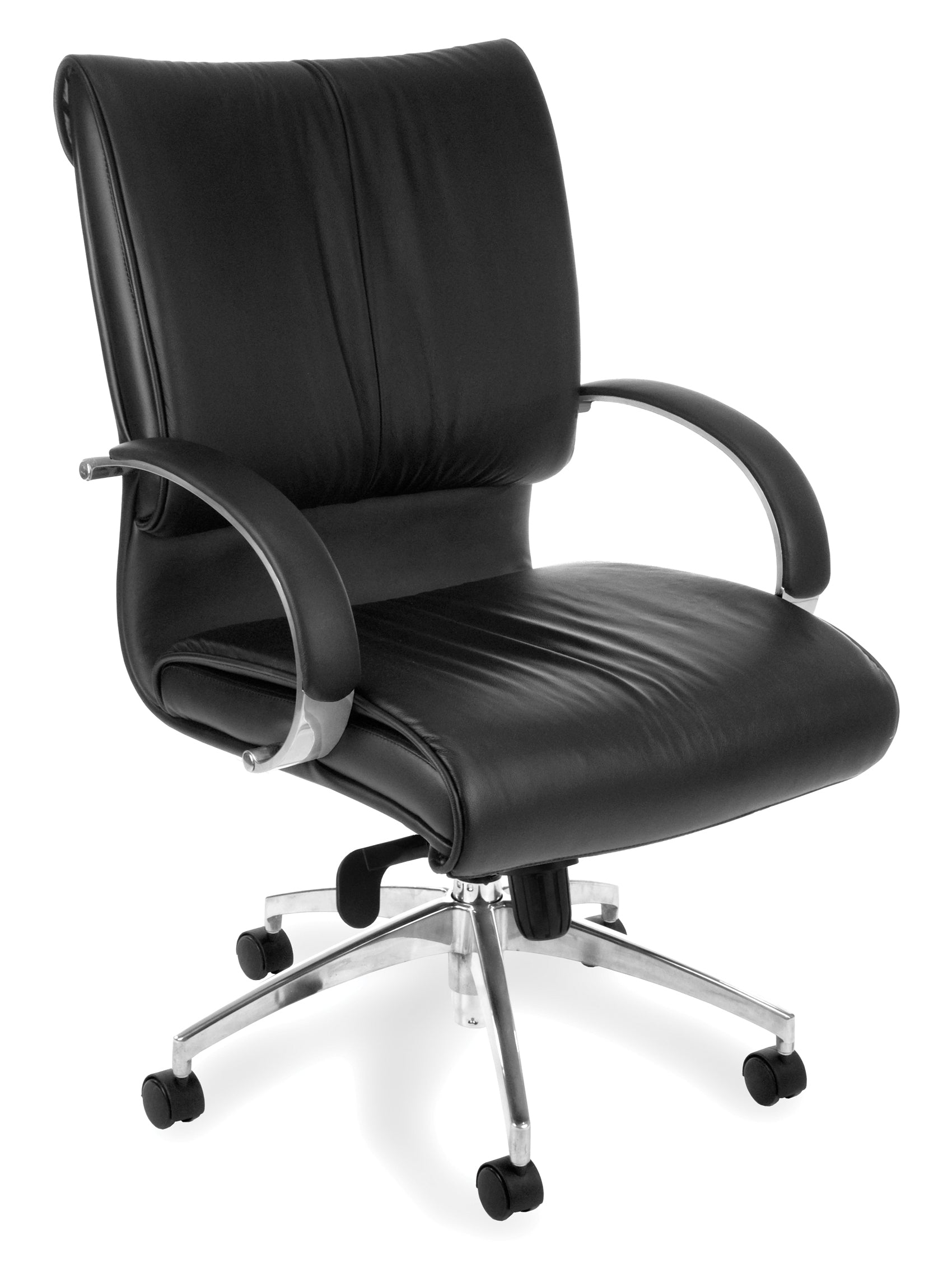 511 Sharp Series Leather Mid-Back Executive Chair with Knee Tilt