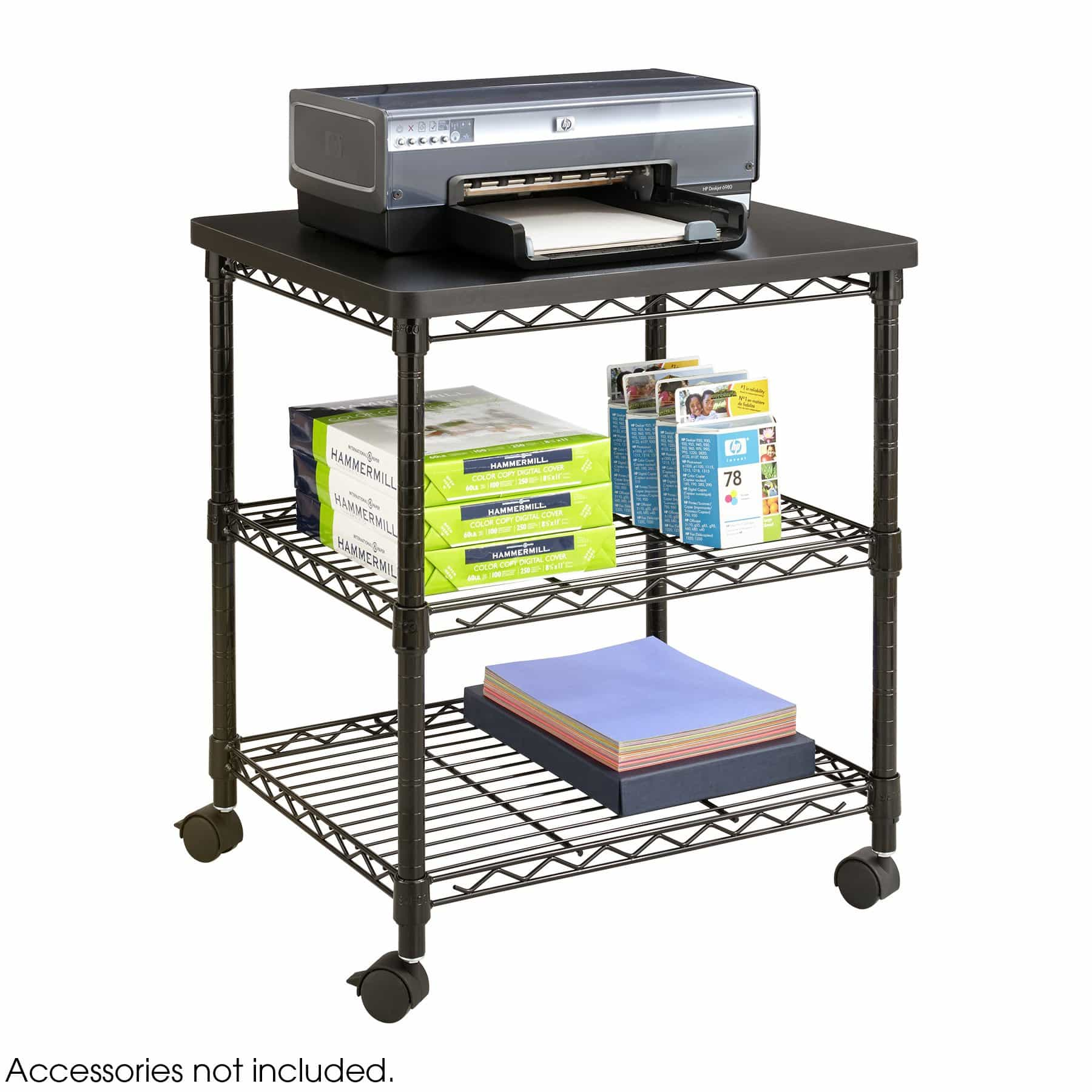 bedinhome - 5207BL Office Furniture mobile printer steel cart  Black Desk side Wire Machine Stand - Safco - Wire Stands