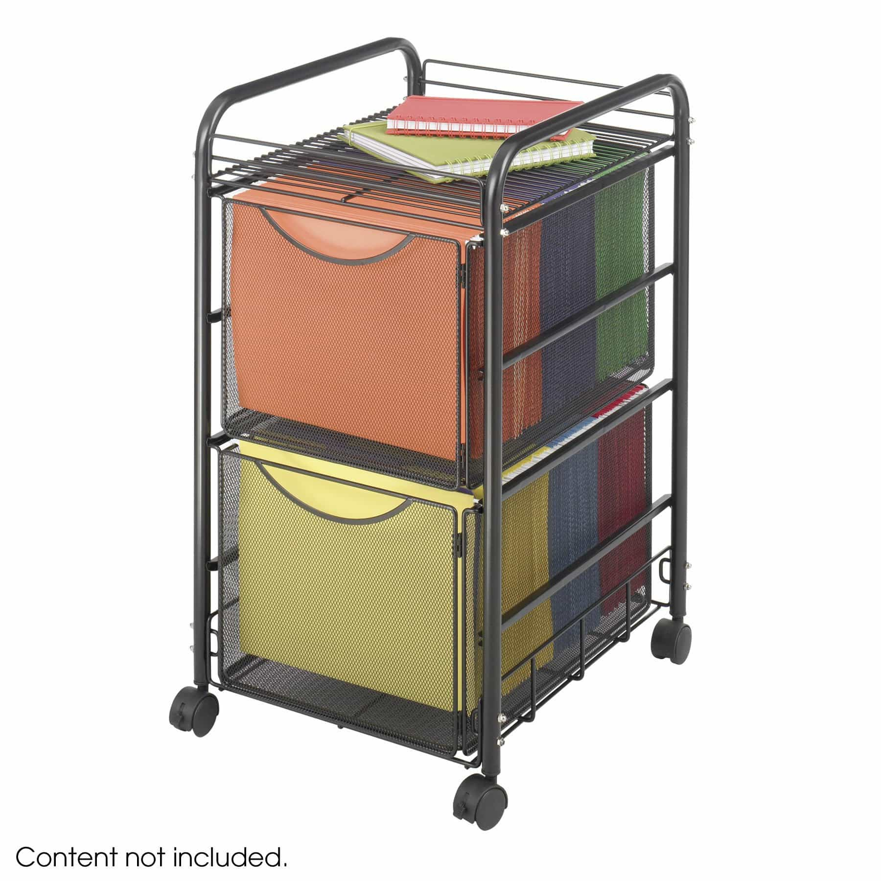 bedinhome - 5212BL Office Furniture Onyx steel mesh frame mobile file cart with 2 File Drawers - Safco - Wire Filing Carts