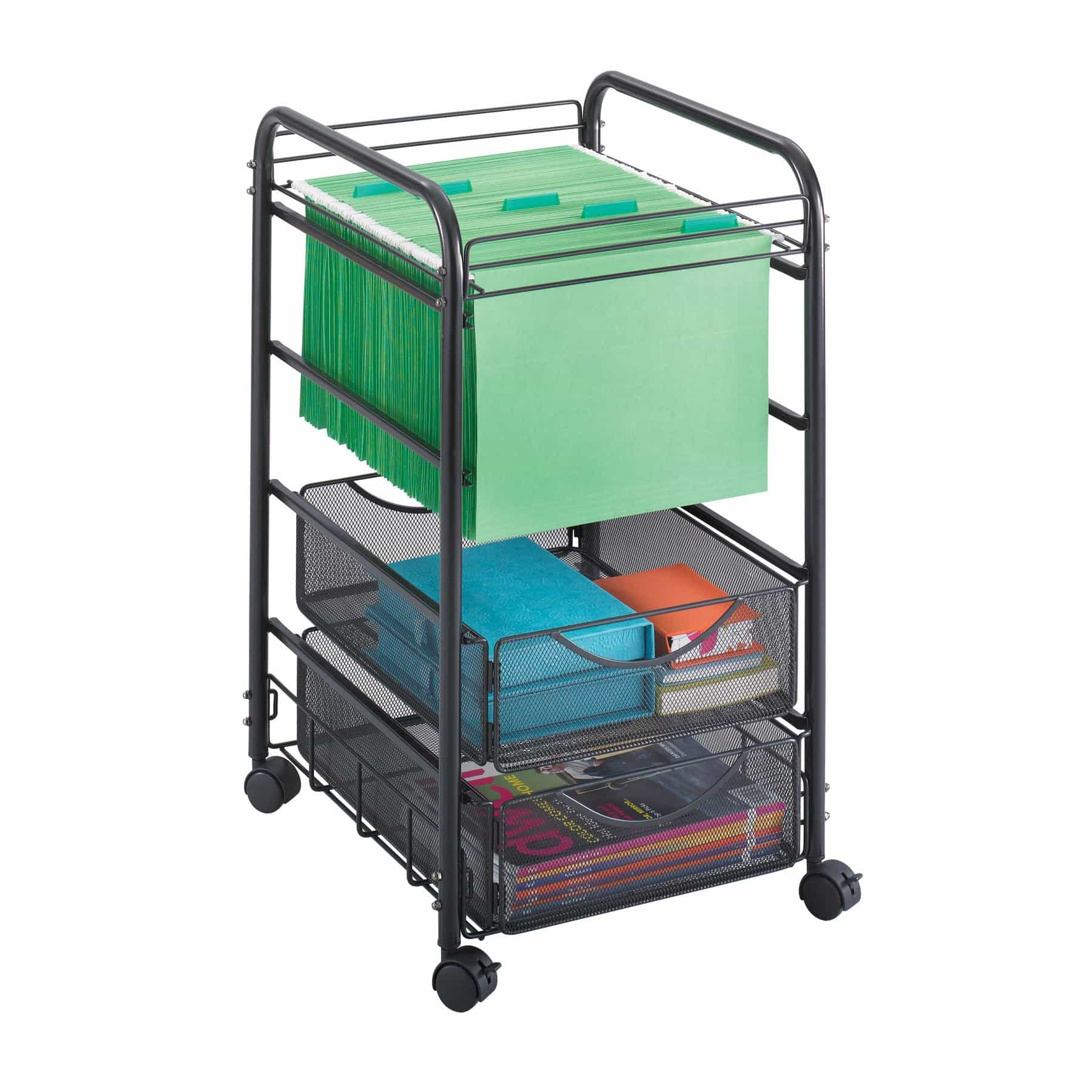 bedinhome - 5215BL Office Furniture Ony steel mesh frame Open mobile file cart with Drawers - Safco - Wire Filing Carts