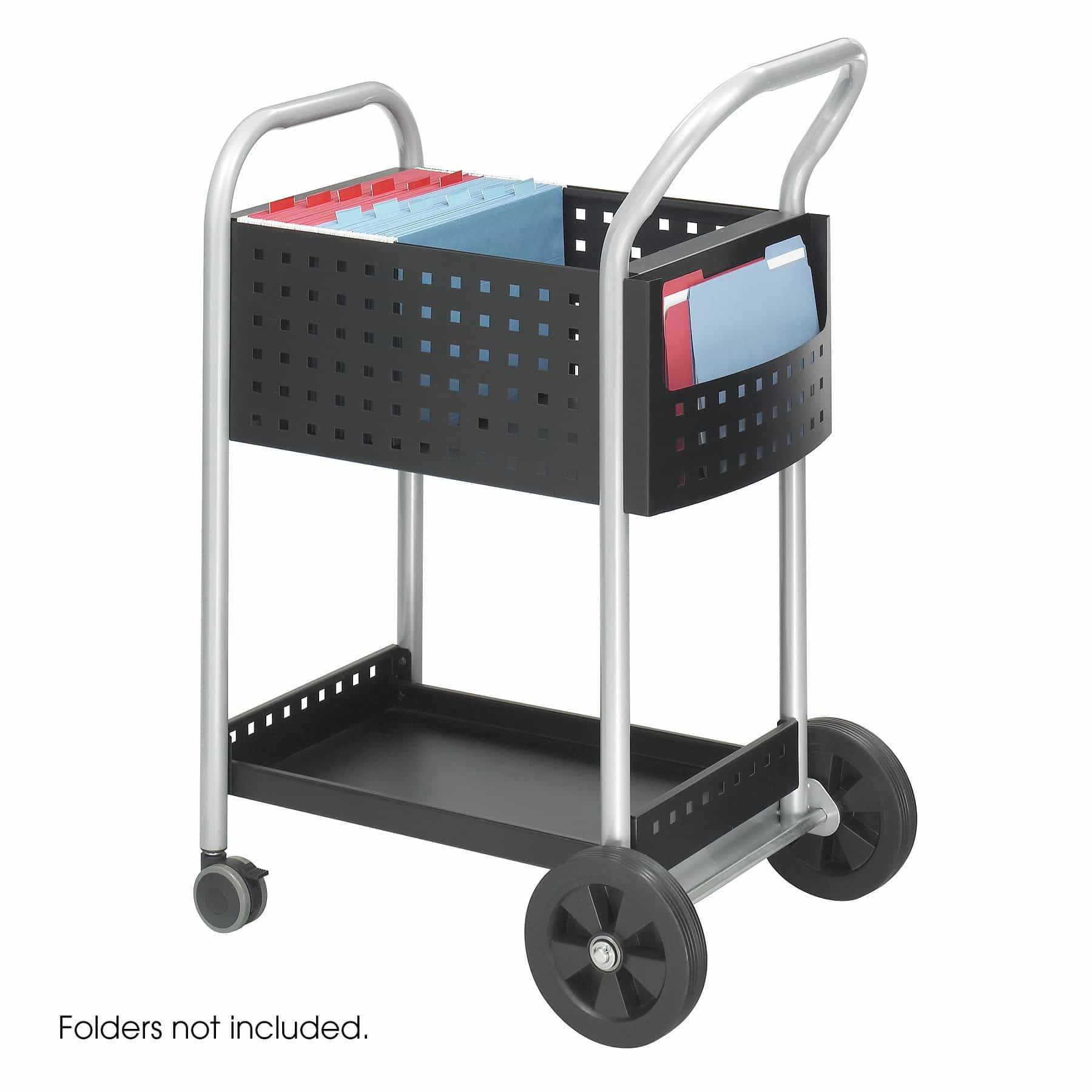bedinhome - 5238BL Mobile steel handle & side pocket storage 20 Inch D Scoot Mail basket wheel Cart - Safco - Mail Carts