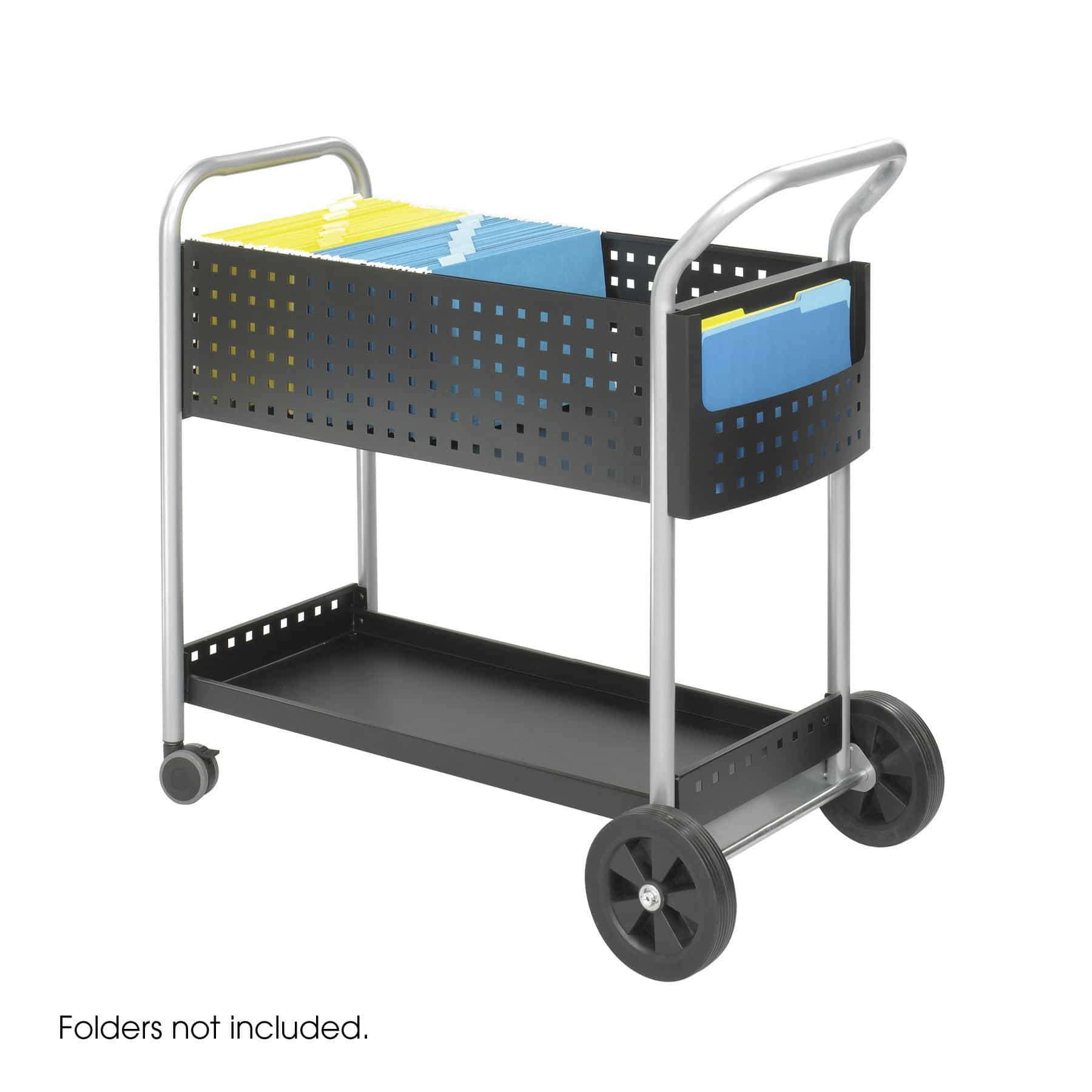 bedinhome - 5239BL Mobile steel handle & side pocket storage 20 Inch D Scoot Mail basket wheel Cart - Safco - Mail Carts