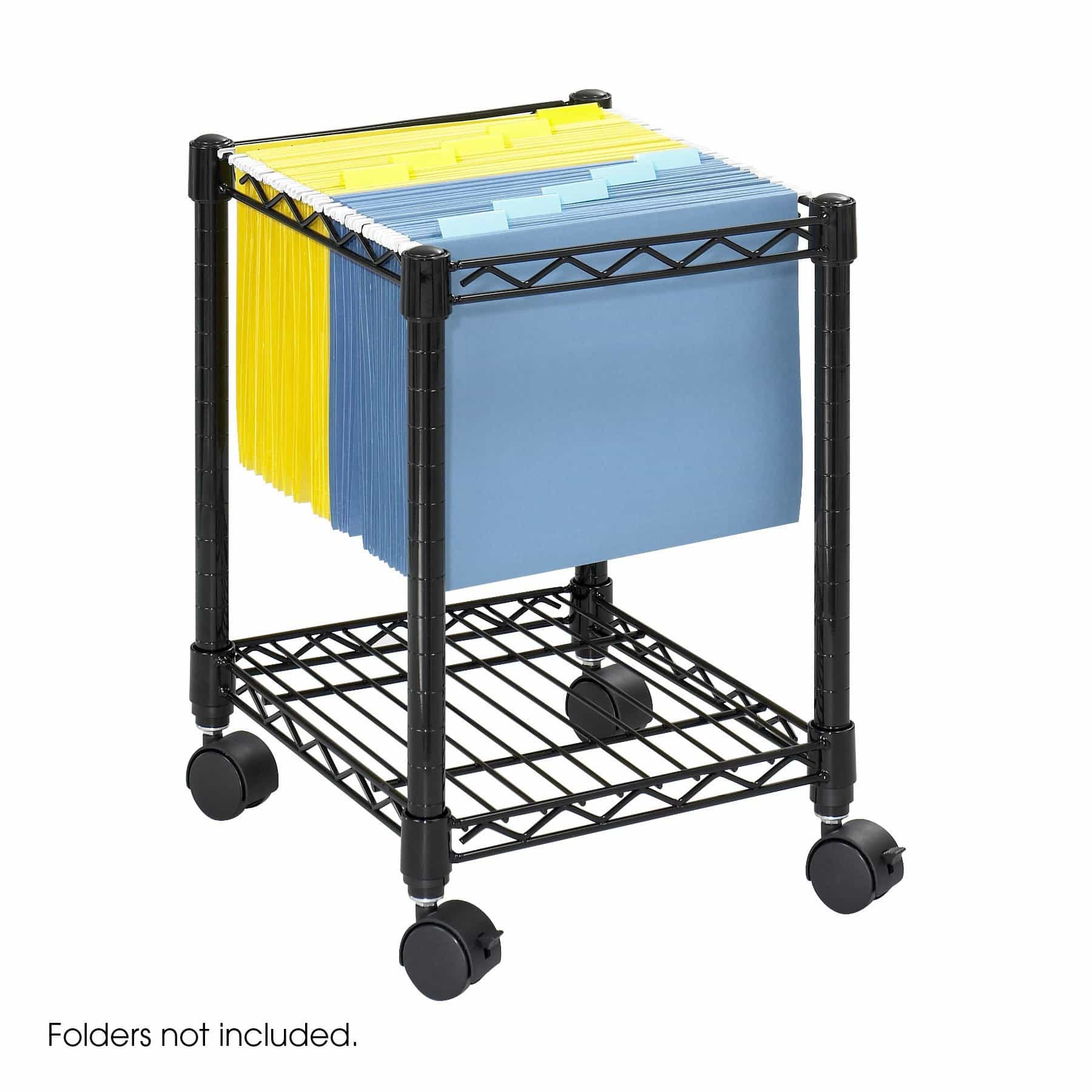 bedinhome - 5277BL Safco Compact Mobile durable steel wire four wheels Casters File Cart - Safco - Wire Filing Carts