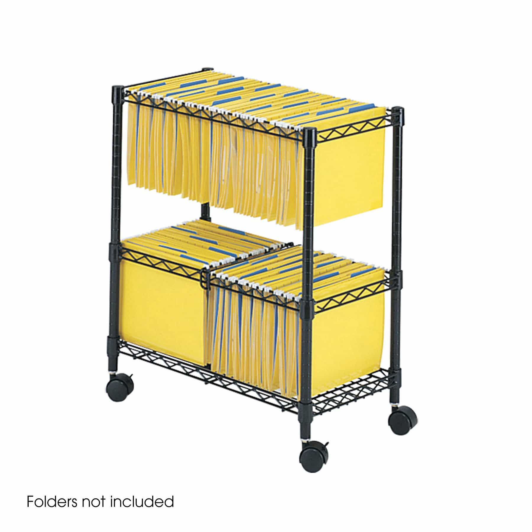 bedinhome - 5278BL Two-Tier steel wire black powder coat finish Rolling mobile filing File Cart - Safco - Wire Filing Carts