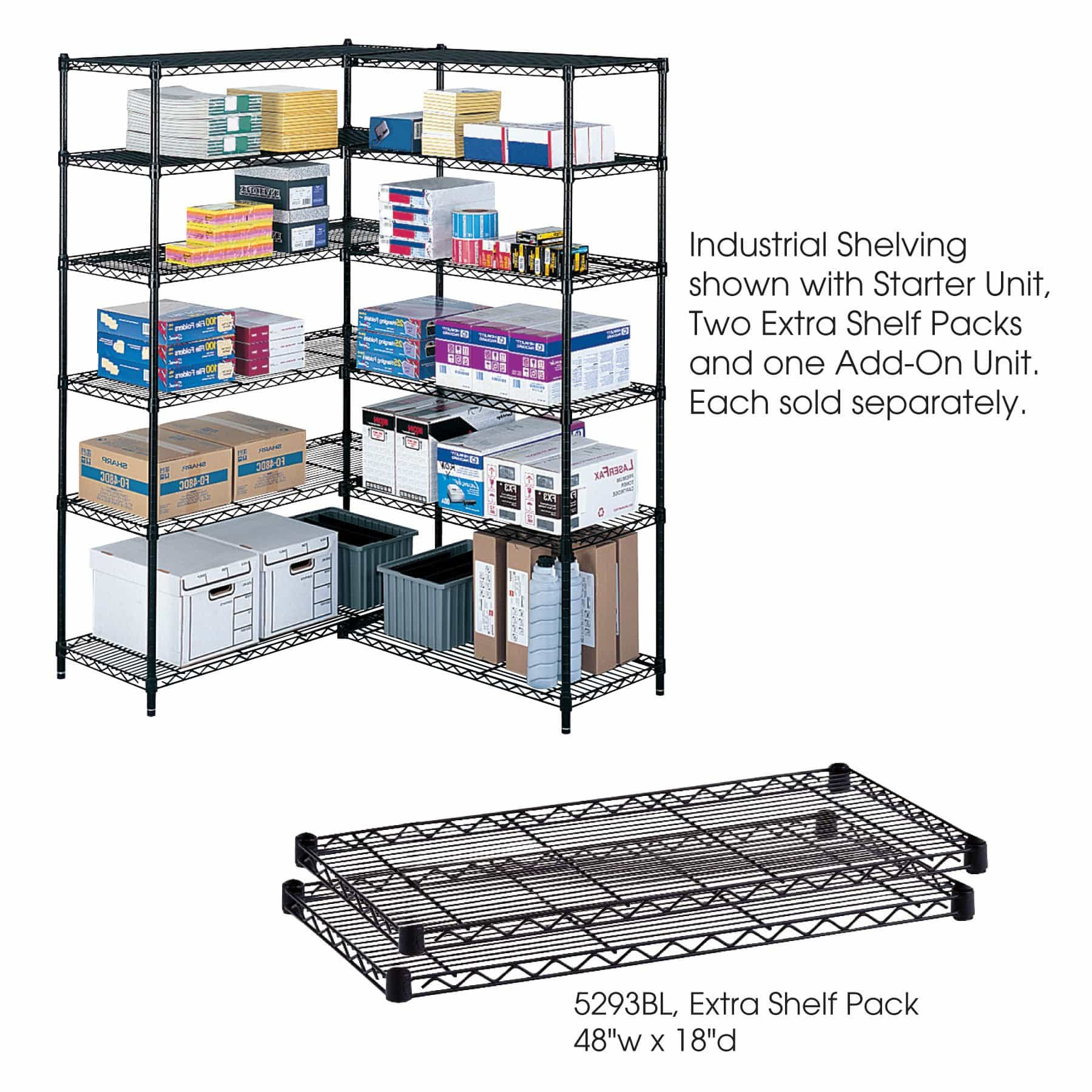bedinhome - Industrial 48 In x 18 In extra strength powder coat finish storage Shelf Pack - Safco - Wire Shelving