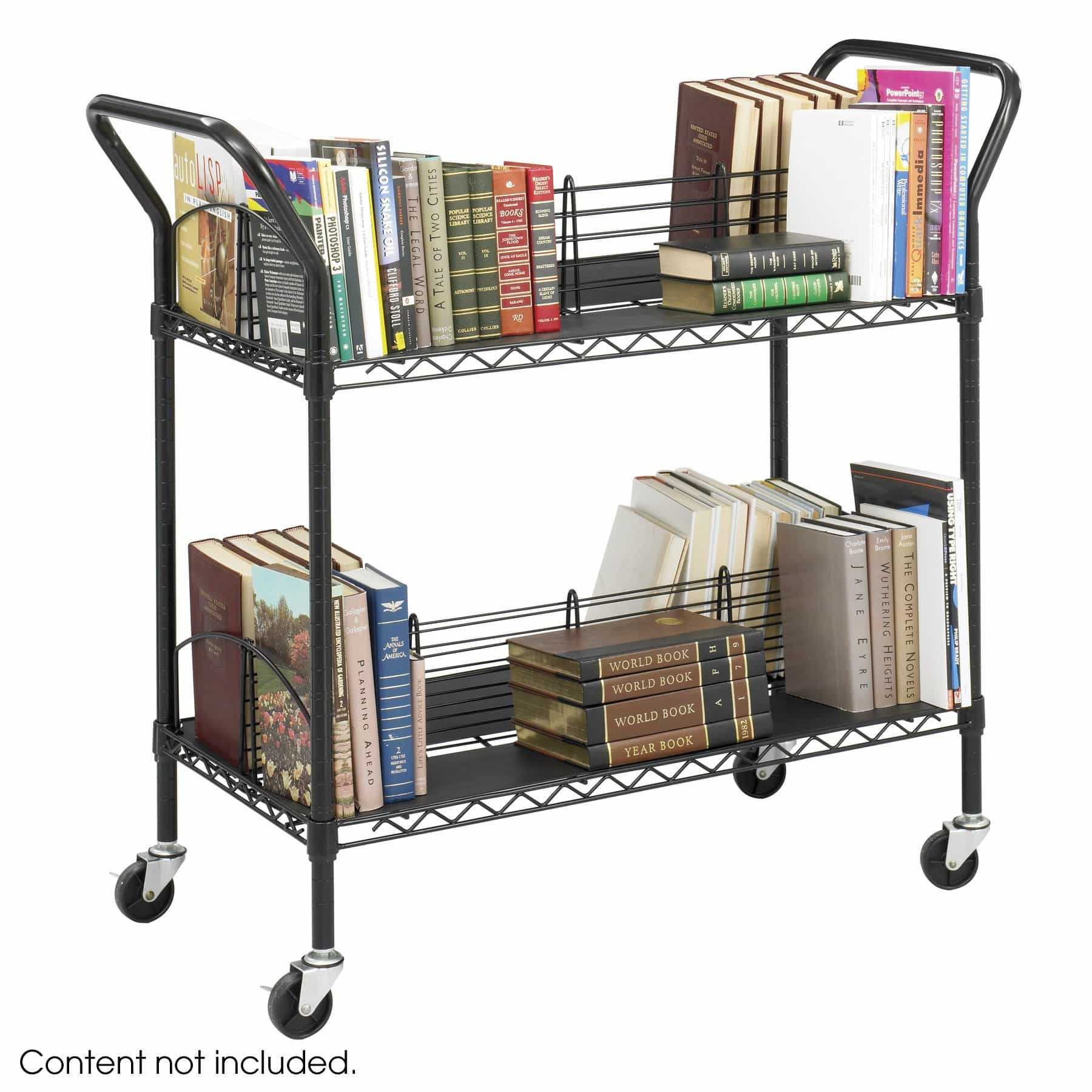 bedinhome - 5333BL Safco Wire Book double-sided cart black steel welded wire shelves - Safco - Utility/Book Carts