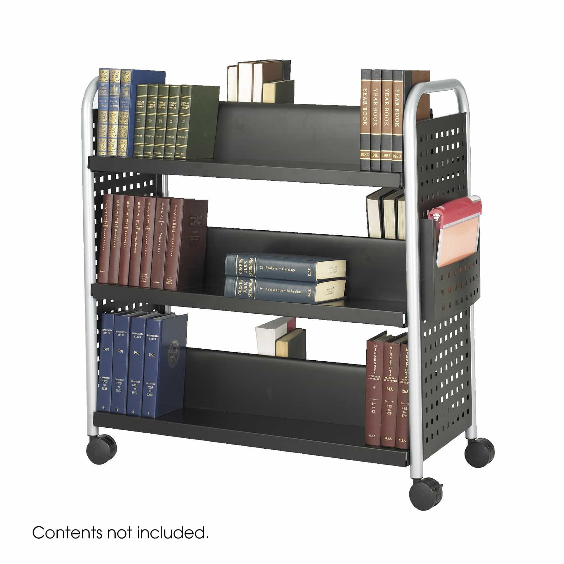 bedinhome - 5335BL Safco Black / Silver Scoot Double-Sided steel legs Book Cart 6 Shelves - Safco - Utility/Book Carts