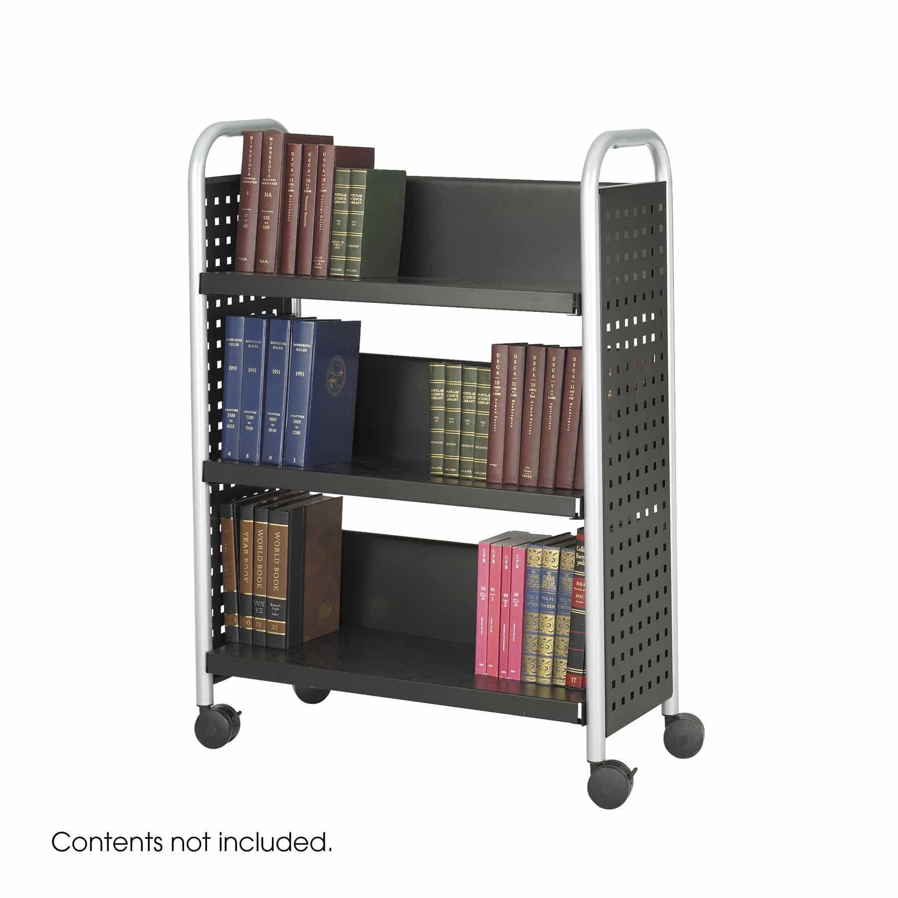 bedinhome - 5336BL Black/Silver Scoot Single-Sided powder coat finish steel legs Book Cart 3 Shelve - Safco - Utility/Book Carts
