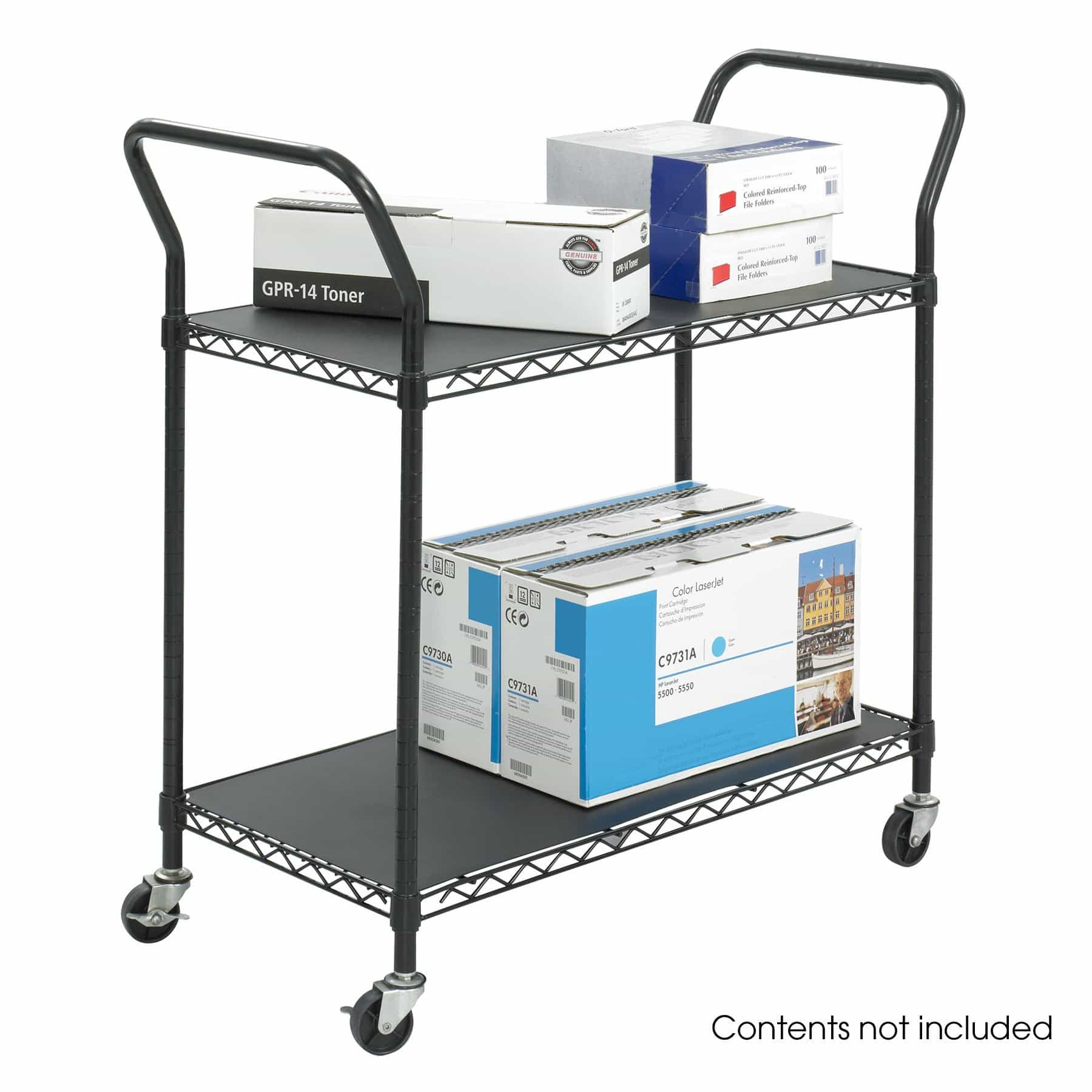 bedinhome - 5337BL Safco Black plastic shelf mobile Wire Utility Cart two adjustable shelves - Safco - Utility/Book Carts