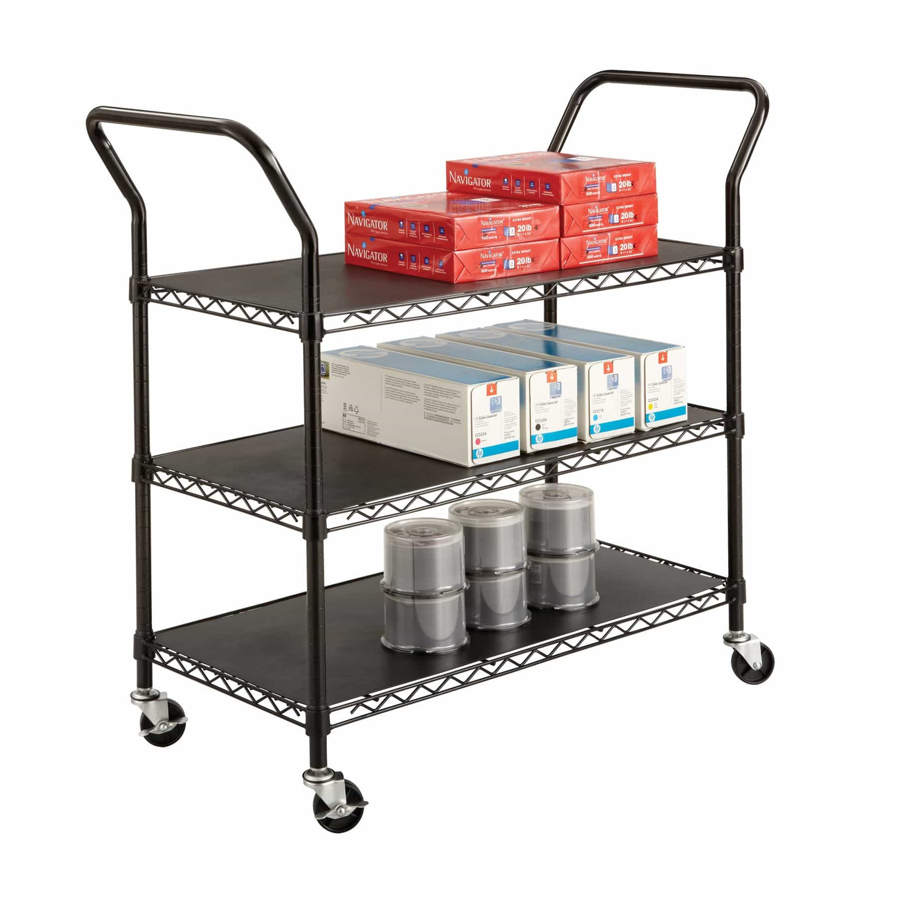 bedinhome - 5338BL Safco Black plastic shelf Wire Utility Cart three adjustable shelves - Safco - Utility/Book Carts