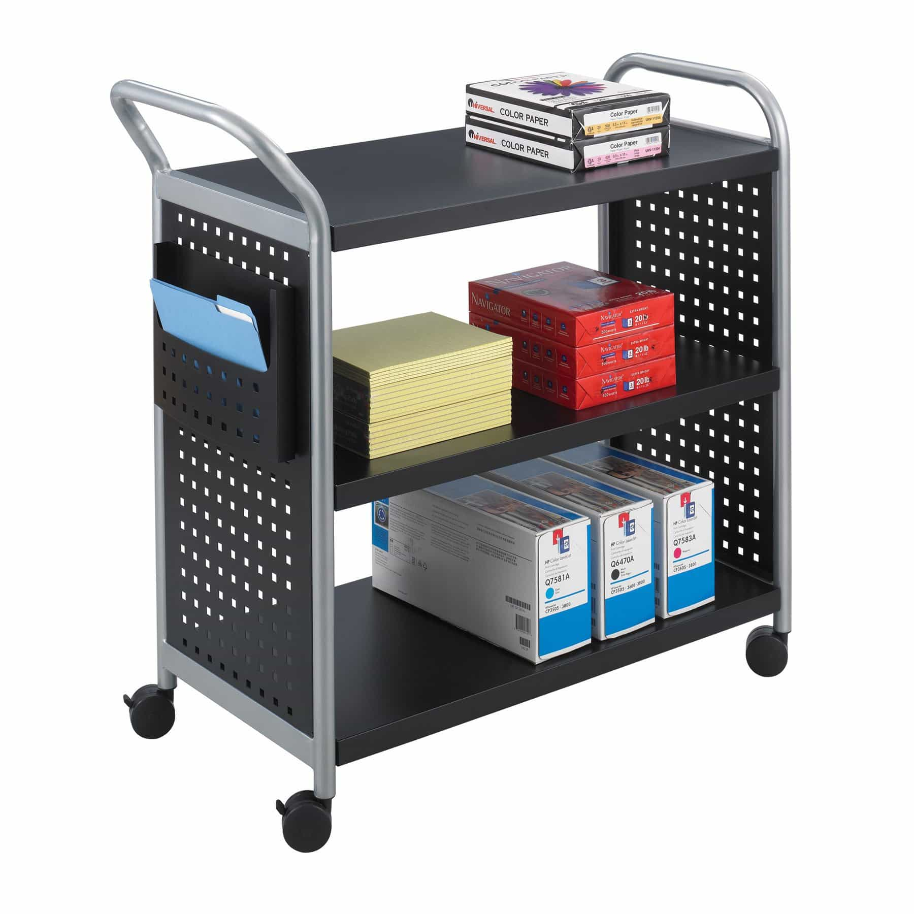 bedinhome - 5339BL Safco black powder coat finish Side pocket Scoot Utility Cart 3 Shelves - Safco - Utility/Book Carts