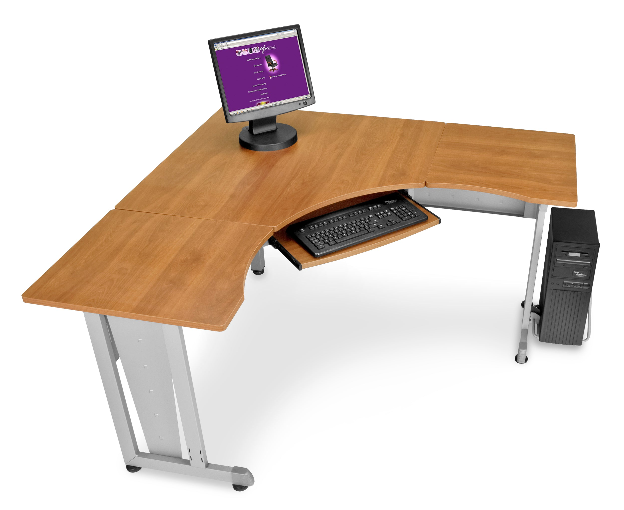 "Ofminc Model 55196 L-Shaped Workstation 60"" x 60"" with 24"" D Top"