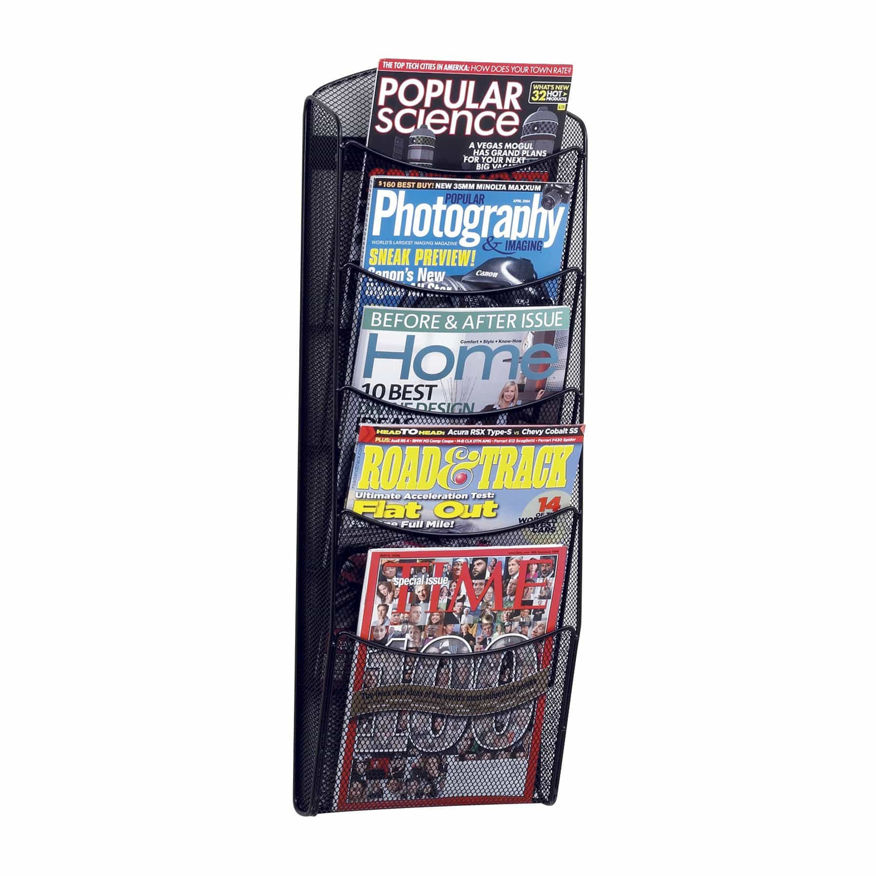 bedinhome - 5578BL 5-Pocket Onyx powder coat finish mesh magazine wall mounting display Rack - Safco - Steel Magazine Racks