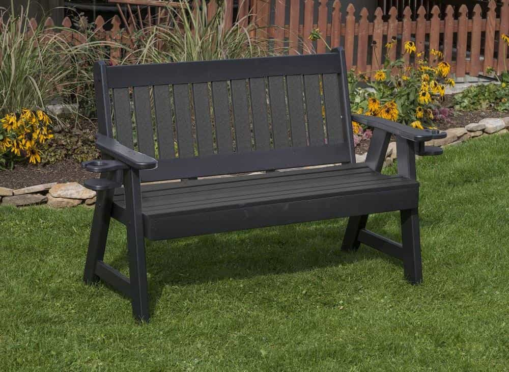 POLY LUMBER Mission PolyTuf HDPE AMISH CRAFTED Cupholder arms BENCH