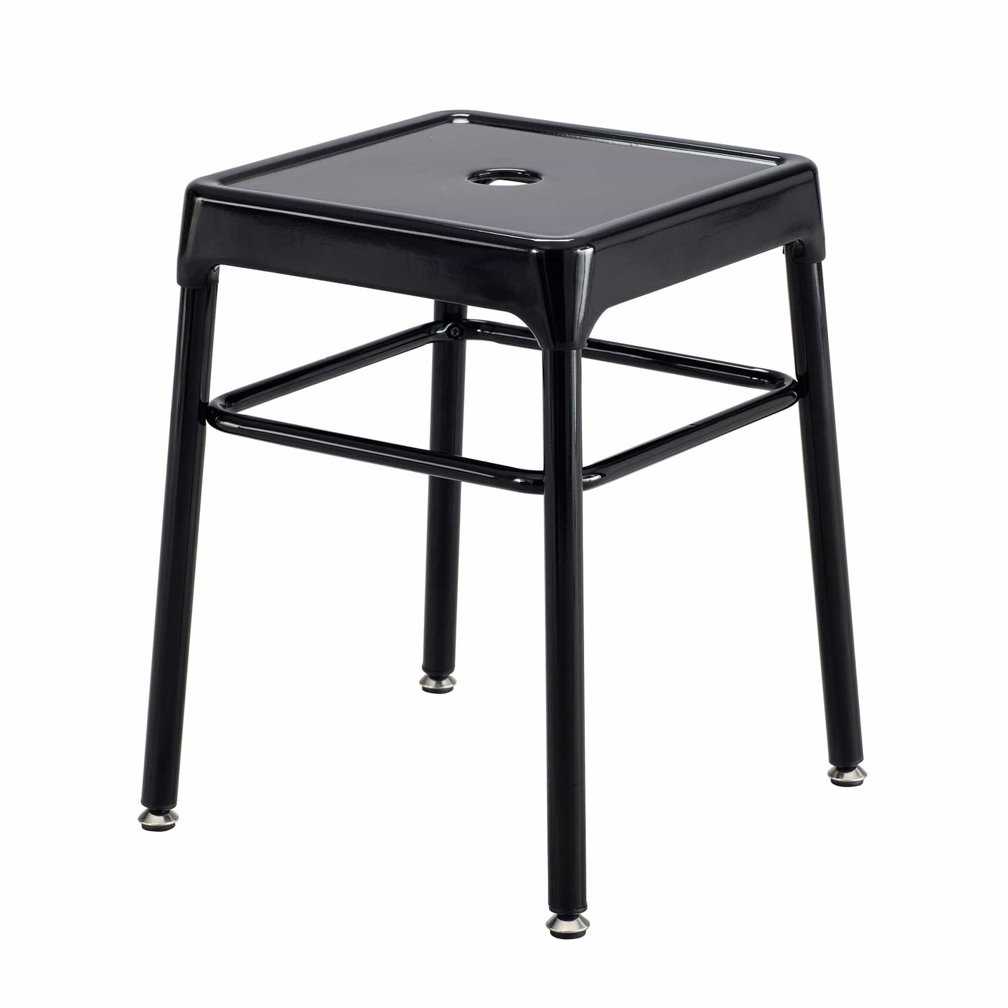 bedinhome - 6604BL Safco® Workspaces 250 Lbs Capacity Nylon Leg Caps Glides Hole on Top Steel Guest Height Black Stool - Safco - Steel Guest Stool