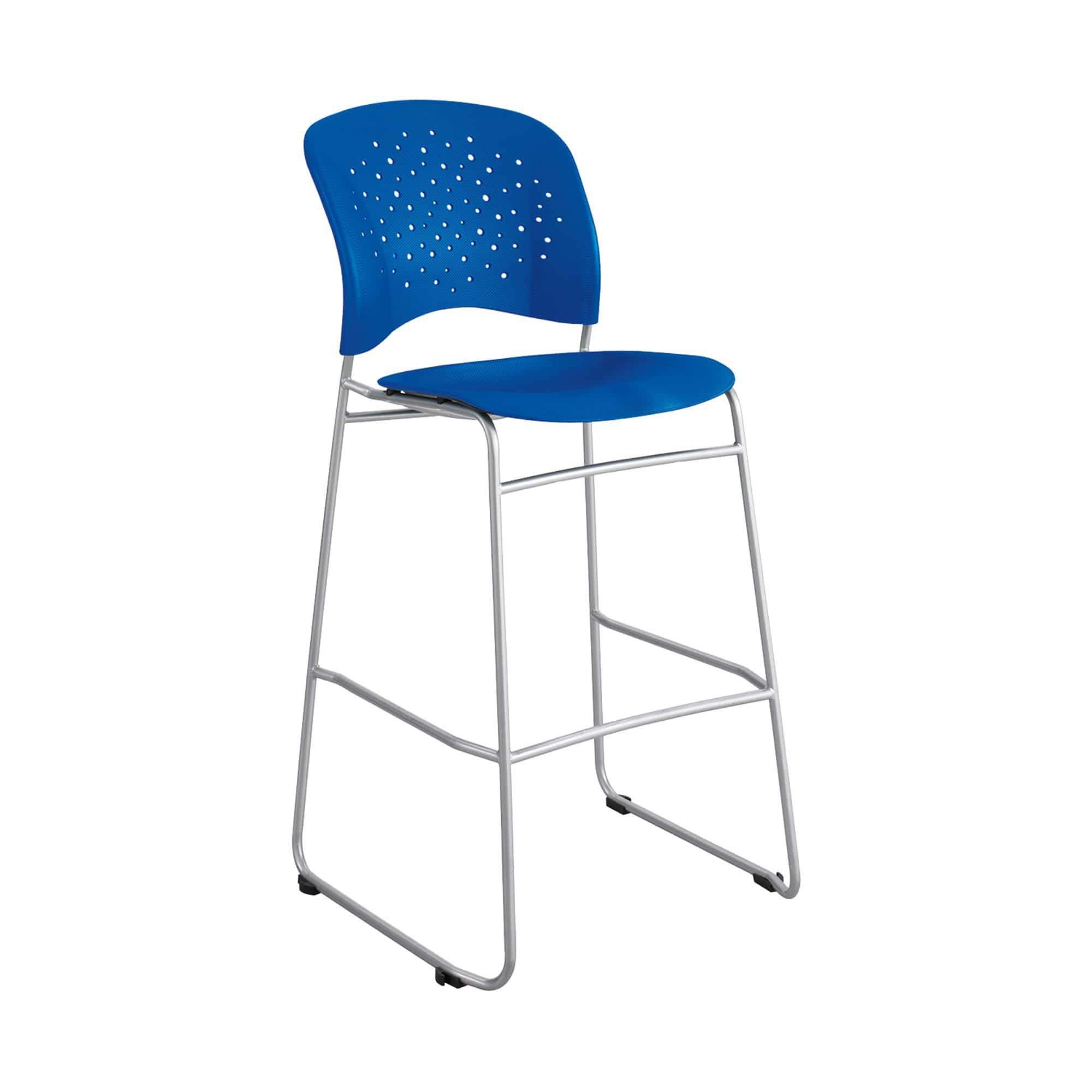 bedinhome - 6806BU Reve™ Restaurant Furniture 250 Lbs Capacity Blue Plastic Bar Bistro-Height Chair Round Back With Silver Frame - Safco - Bistro-Height Chair Round Back