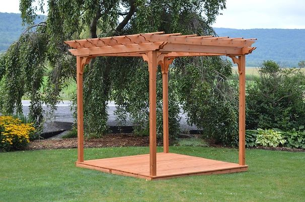 Outdoor Garden Furniture Pergola With Deck & Swing Hangers Made In USA