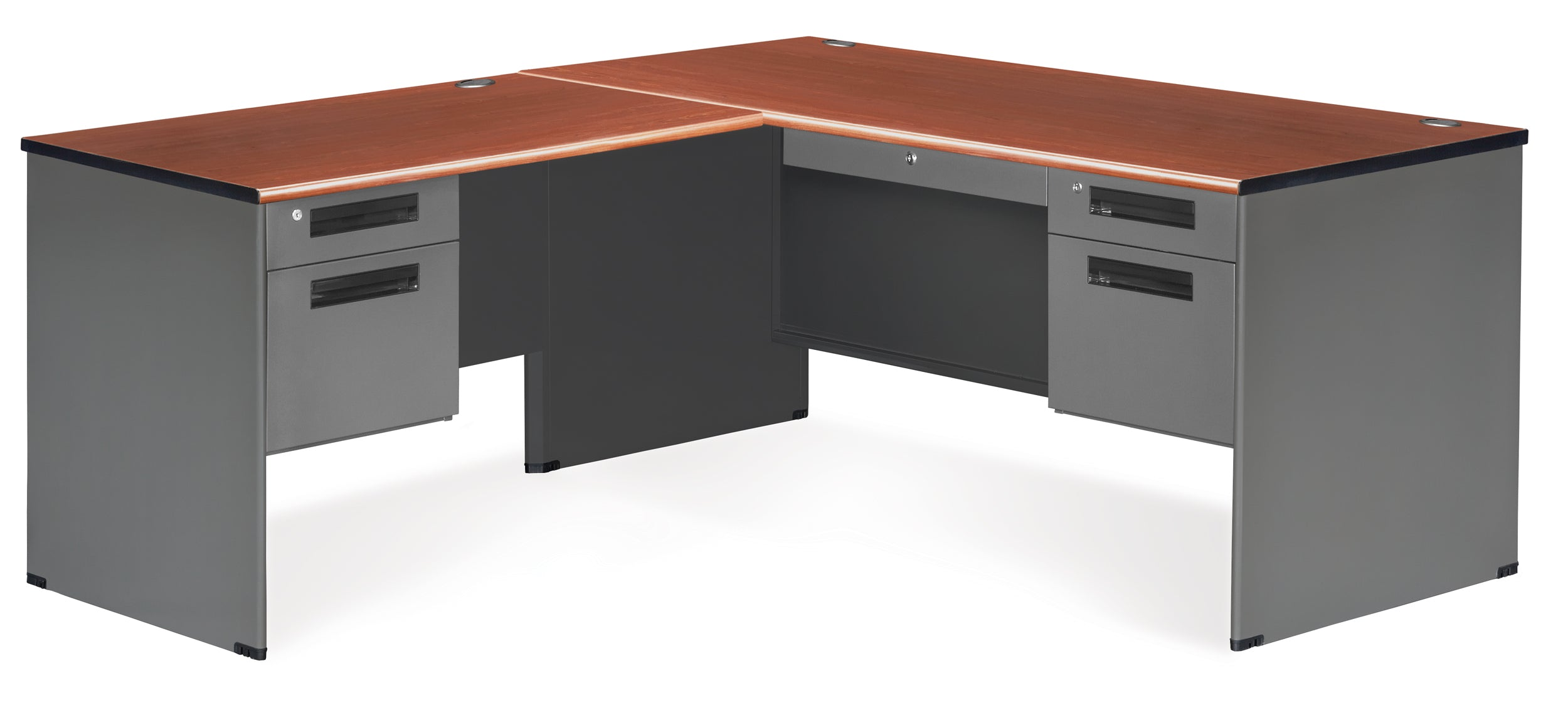 77366L Executive Series L-Shaped 5-Drawer Desk, Left Pedestal Return