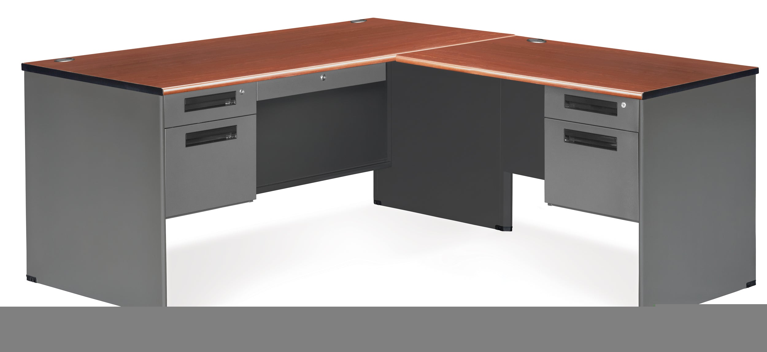 77366R Executive Series L-Shaped 5-Drawer Desk, Right Pedestal Return