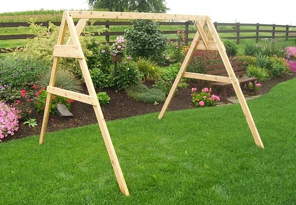 Outdoor Garden Furniture A-Frame Swing Stand for Swing or Swingbed (Hangers Included) Made In USA