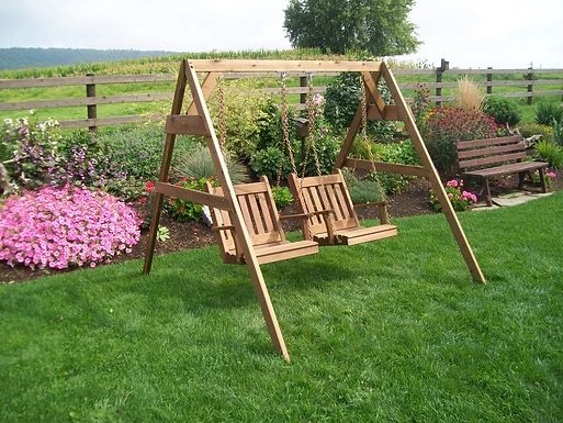 Outdoor Furniture 5 Ft 2 x 4 A-Frame Swing Stand for 2 Chair Swings