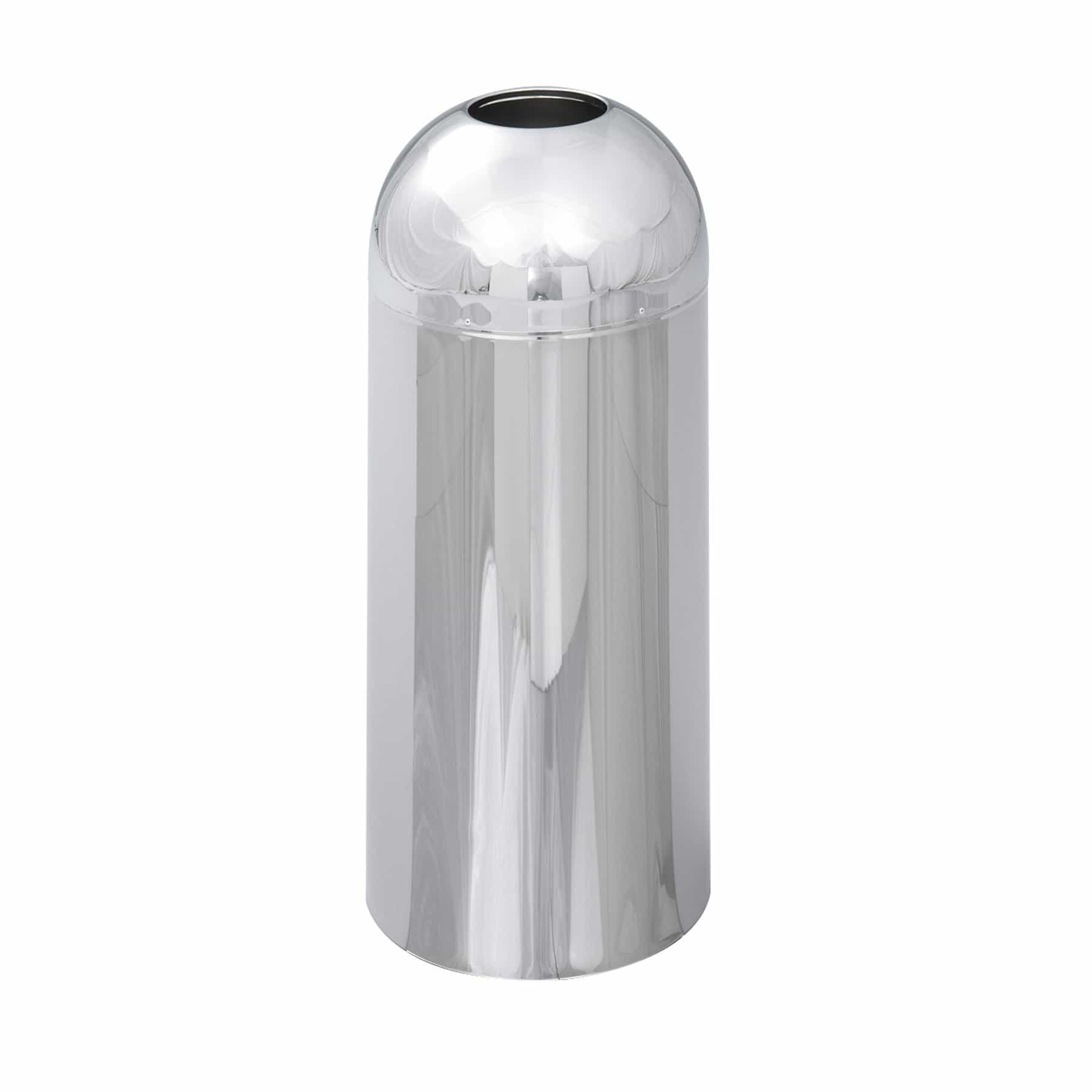 bedinhome - Reflections By Safco Open Top Dome Receptacle Steel Trash Can With Chrome - Safco - Trash Can