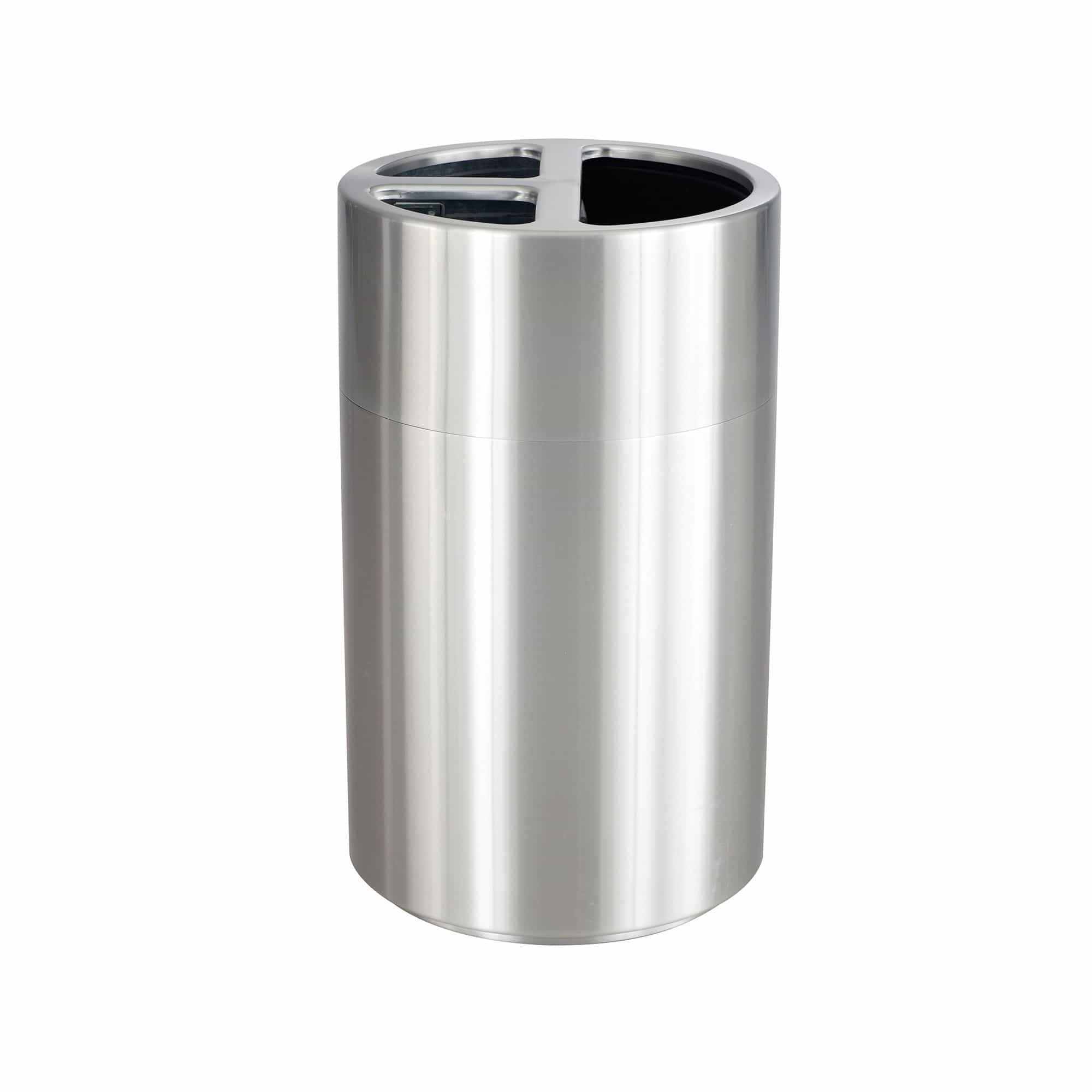 bedinhome - 9941SS Indoors Use Aluminum Designed Durable Stainless Steel 40 Gallon Capacity Triple Recycling Receptacle - Safco - Triple Recycling Receptacle